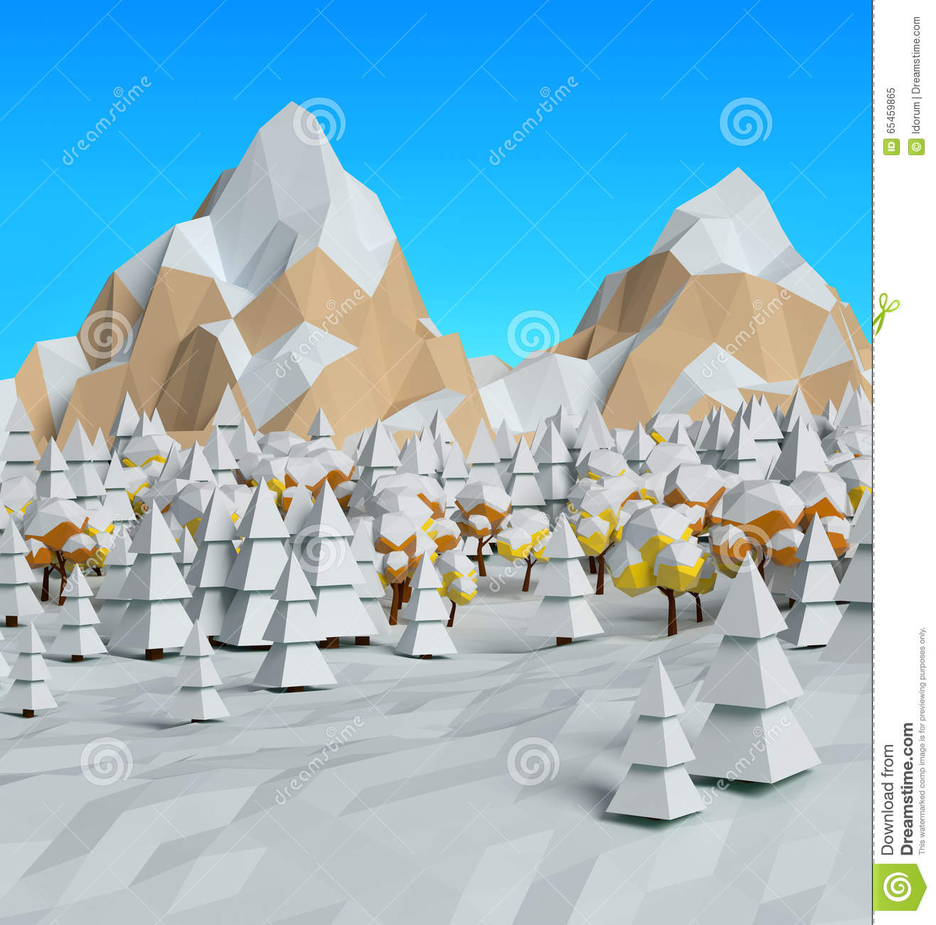 More similar stock images of 3d landscape with fall tree - Low Poly Winter Frosty Sunny View 3d Royalty Free Stock Photo