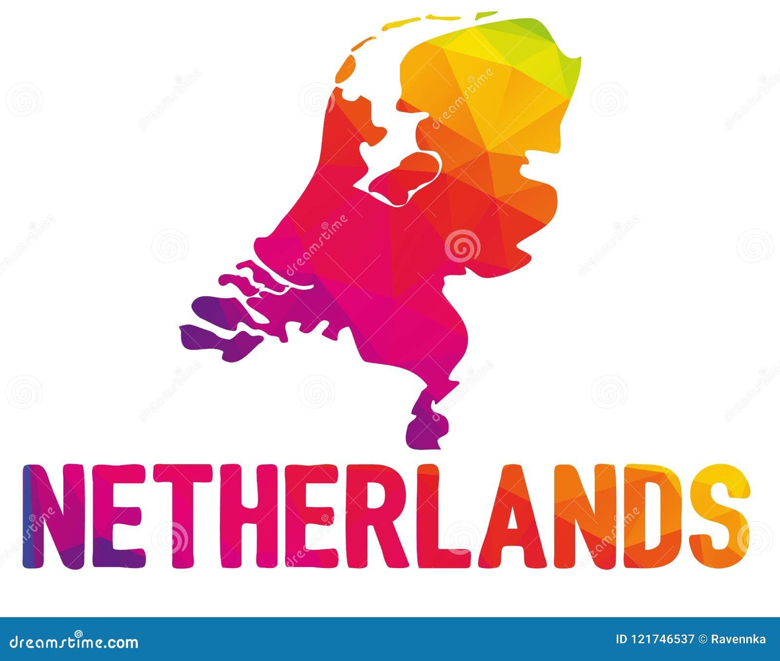 Low Polygonal Map Of The Netherlands Nederland, Kingdom Of ...