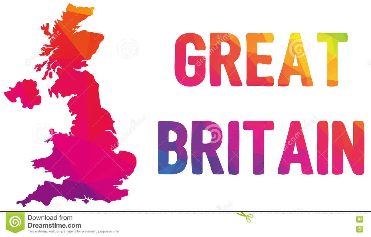 low polygonal map of the united kingdom of great britain and nor