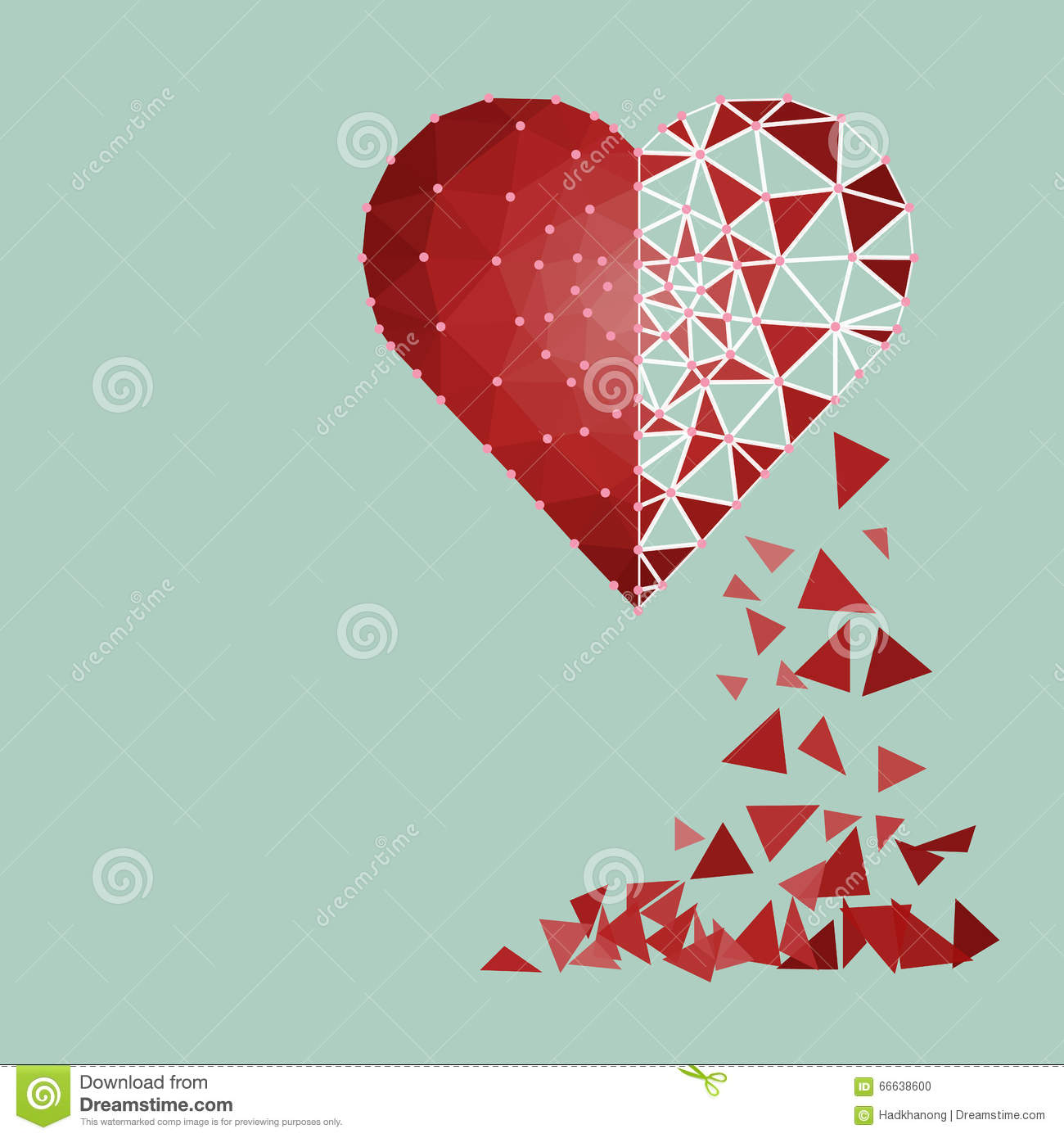 Etonnant Low Polygonal Of Red Heart That Crushed To A Pieces In A Half Fa Stock Photo