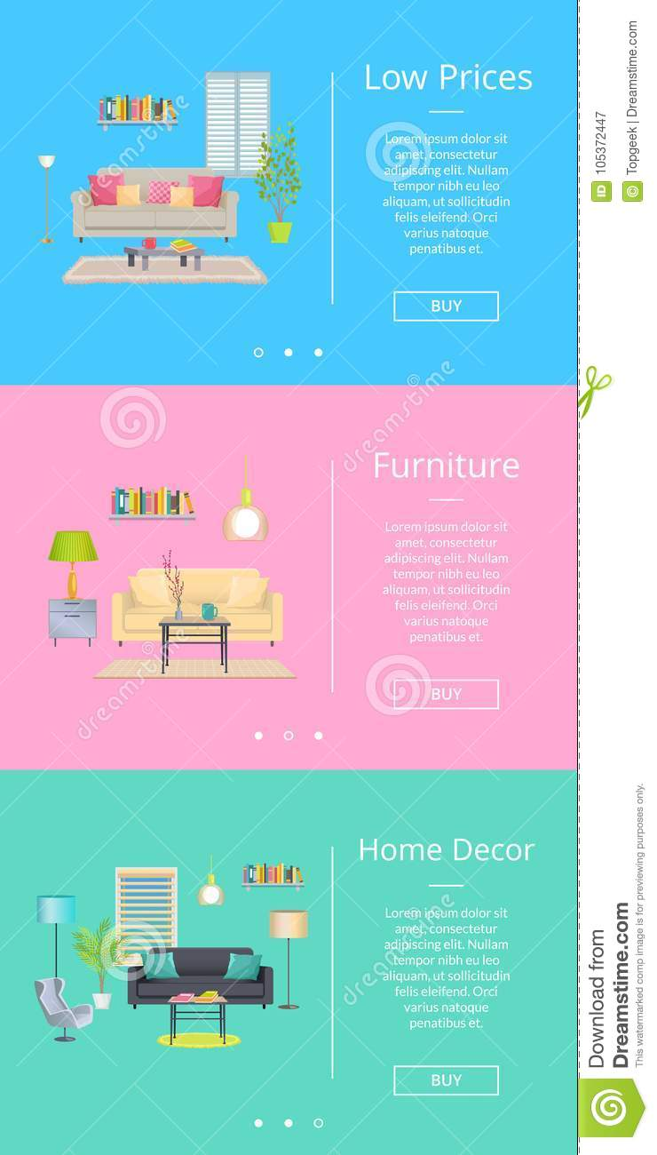 Low Prices And Furniture Home Decor Web Pages Of Internet Shop Text Images Rooms Design In Modern Way Vector Illustration