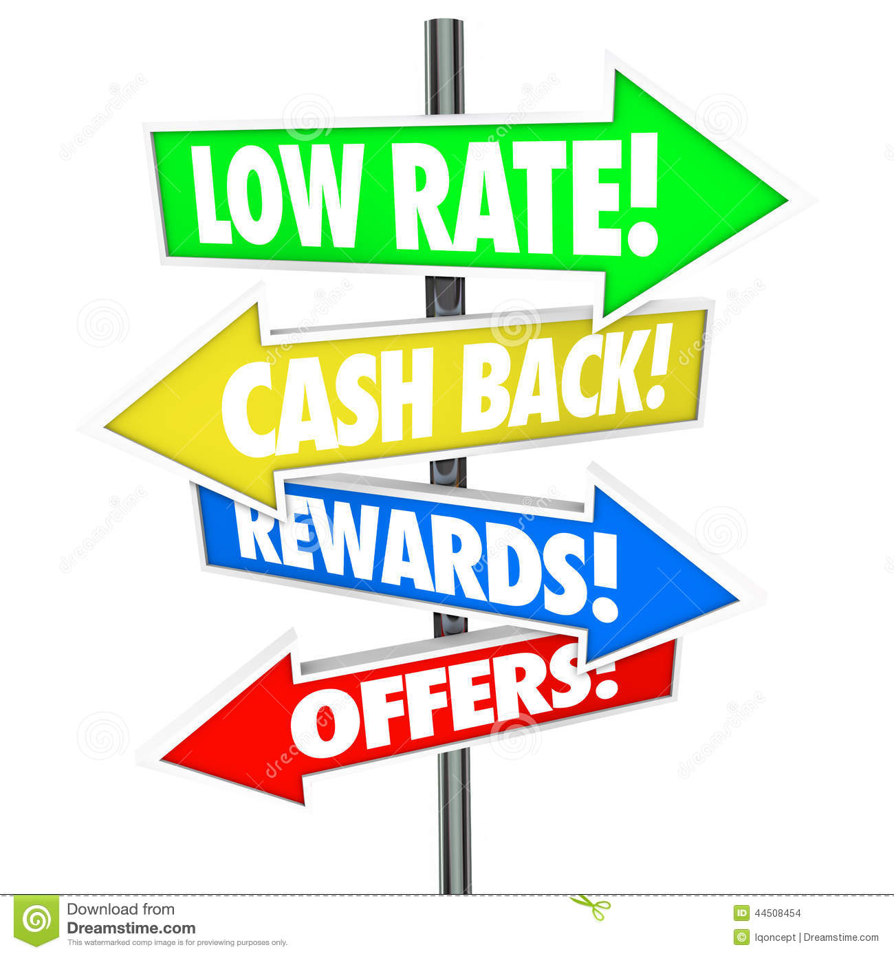 Low Rate Cash Back Rewards Offer Arrow Signs Best Credit Card De ...