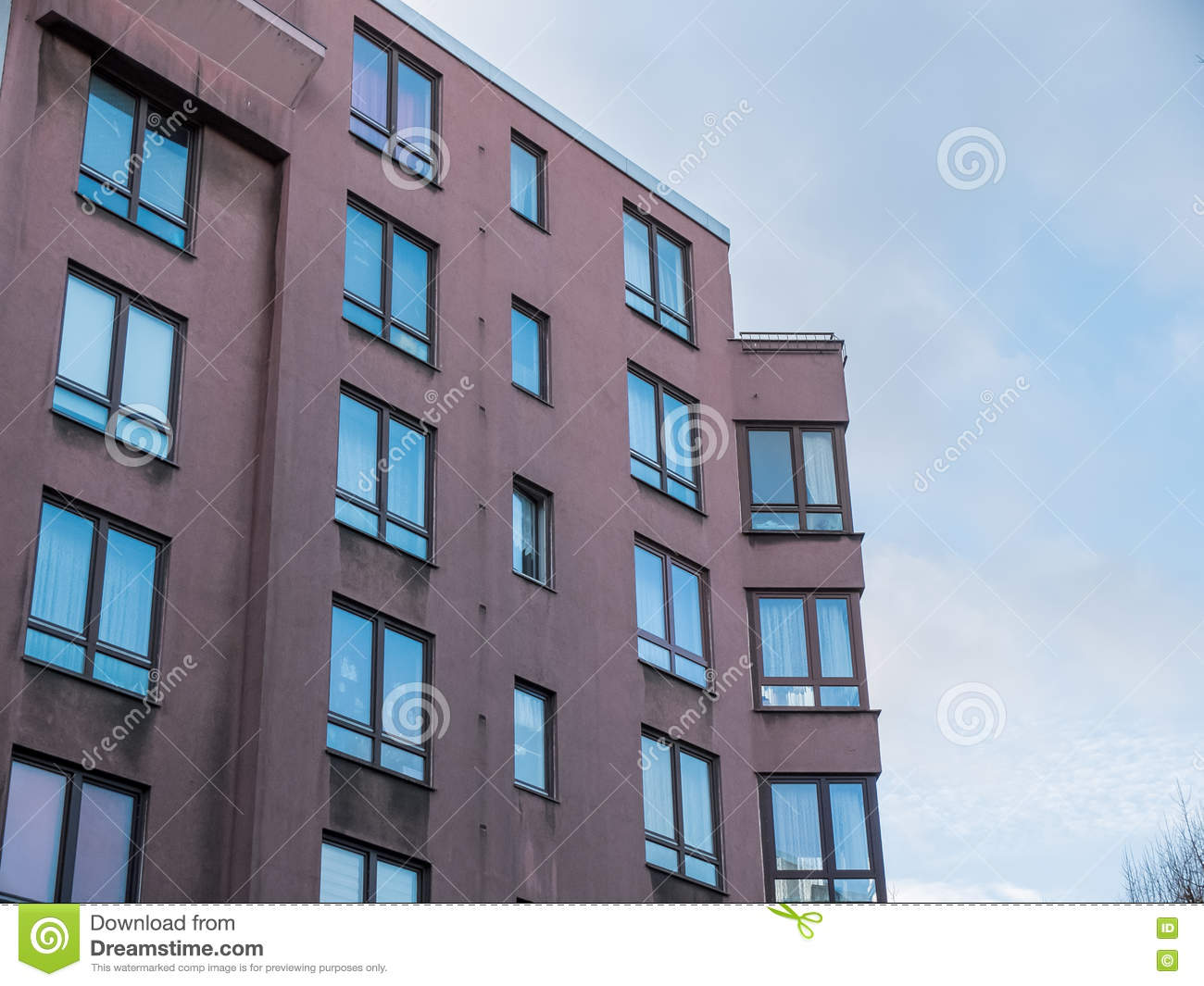Low Rise Apartment Building With Corner Windows Stock