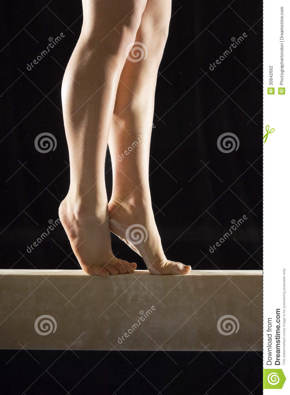 Low Section Of Gymnast On Balance Beam Stock Photography
