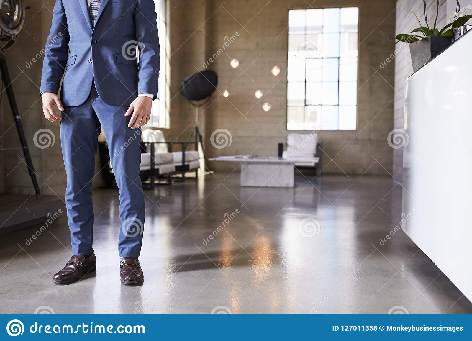 Low section of man in suit standing in modern furnished room