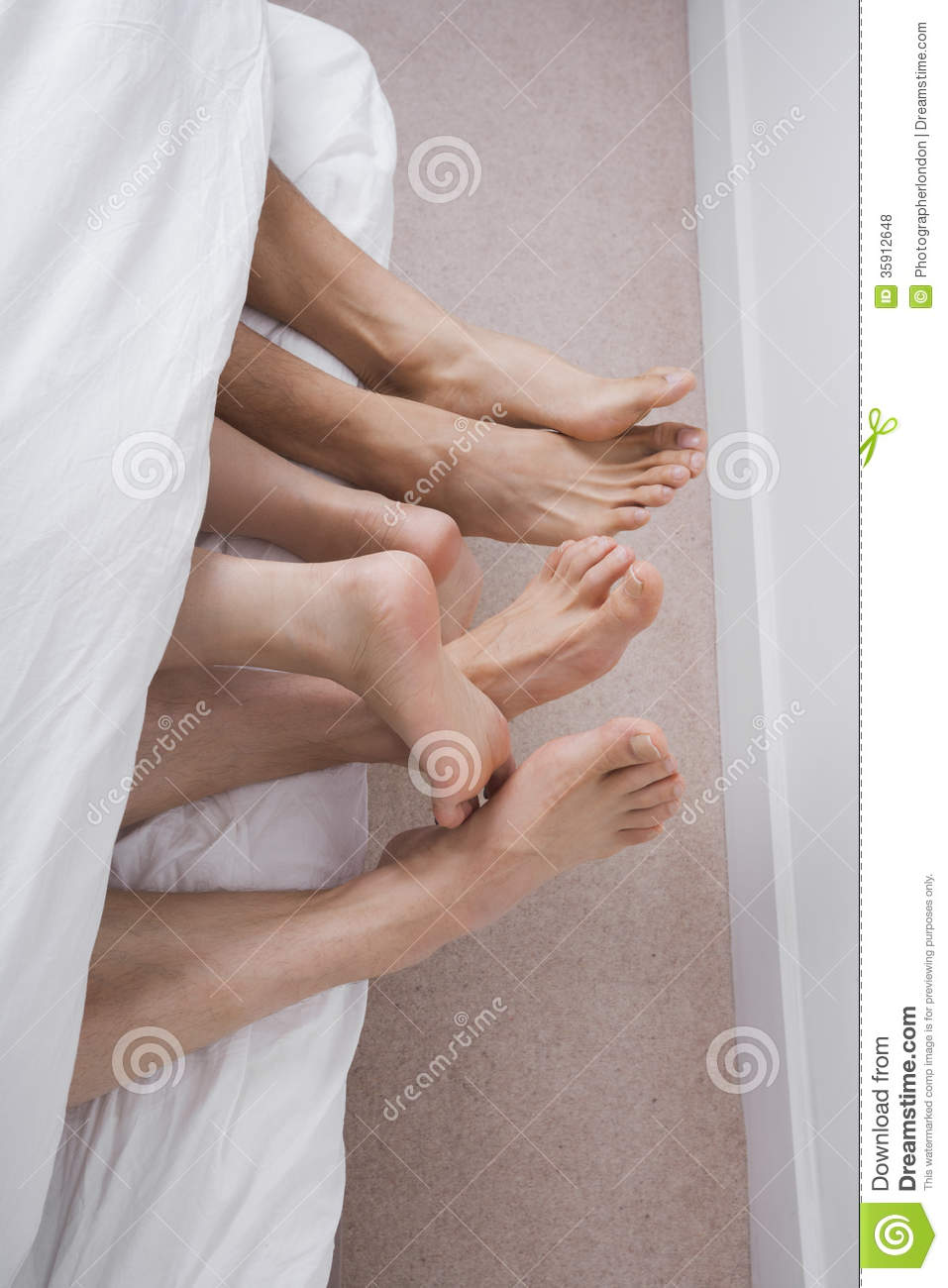 ... Two Men With Woman In Bed Royalty Free Stock Photos - Image: 35912648