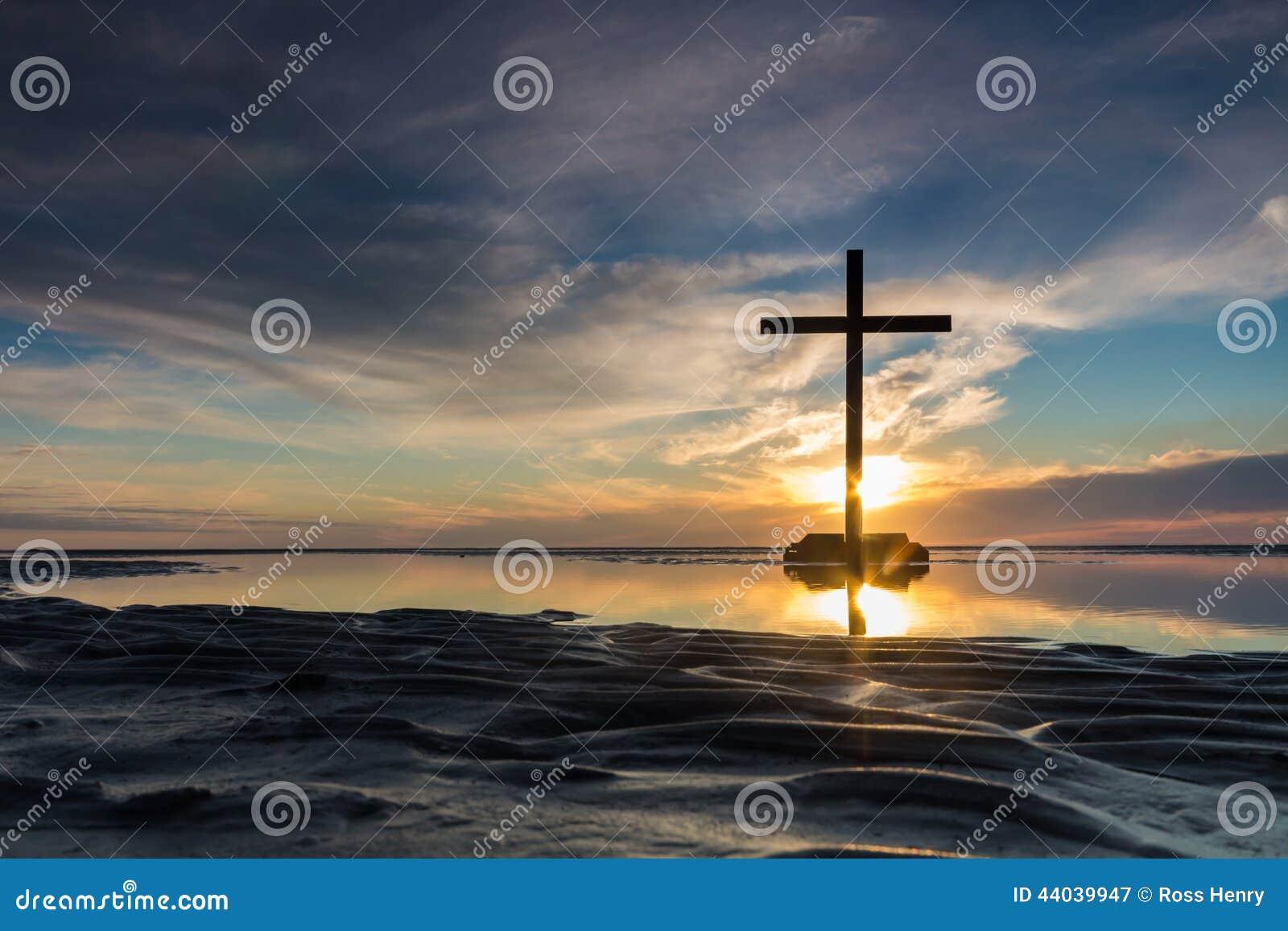 Low tide cross sunset stock image image of christianity 44039947 royalty free stock photo biocorpaavc