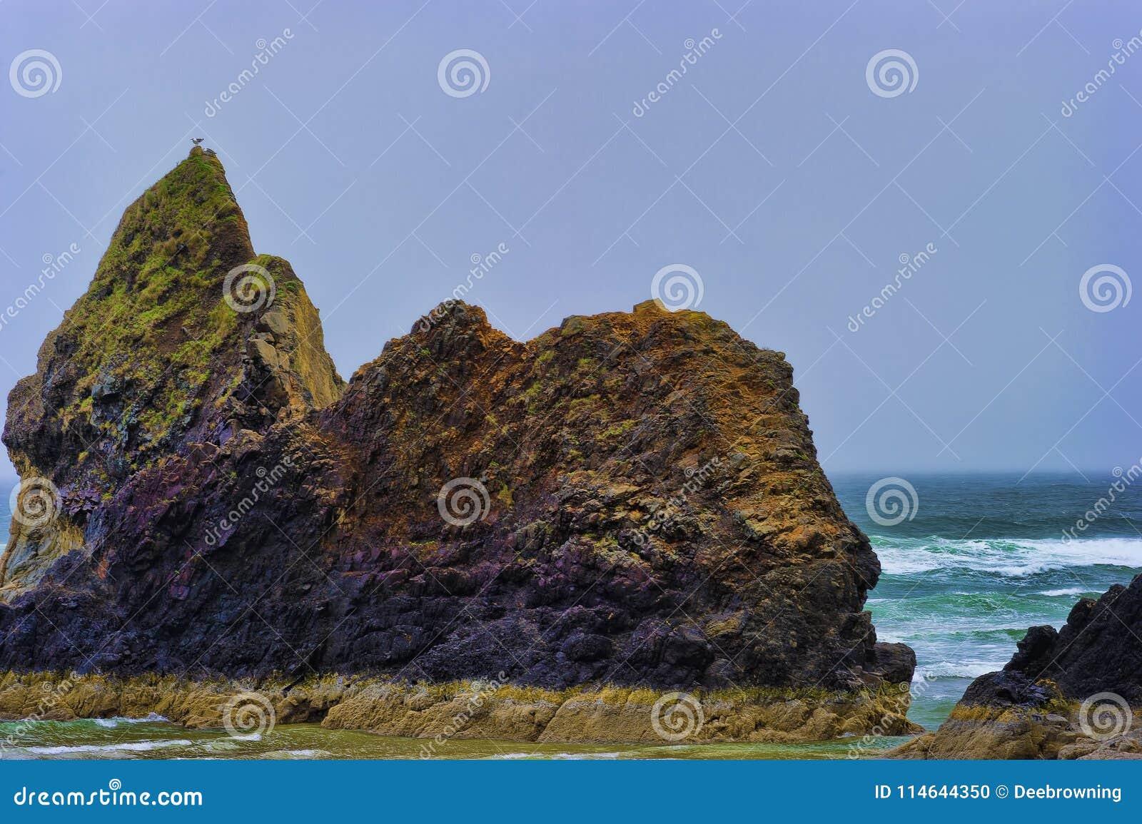At low tide geopenbaarde de Kust Intertidal Rotsen van Oregon