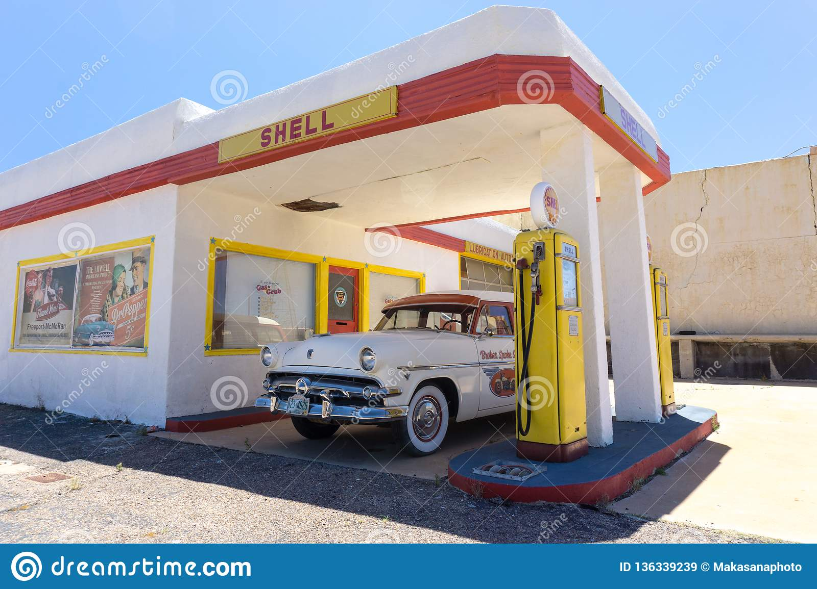 Lowell Az Usa July 12 2016 Old Fuel Pump And Classic Car At An Abandoned Ghost Town Gas Station Editorial Stock Image Image Of Automobile Colorful 136339239