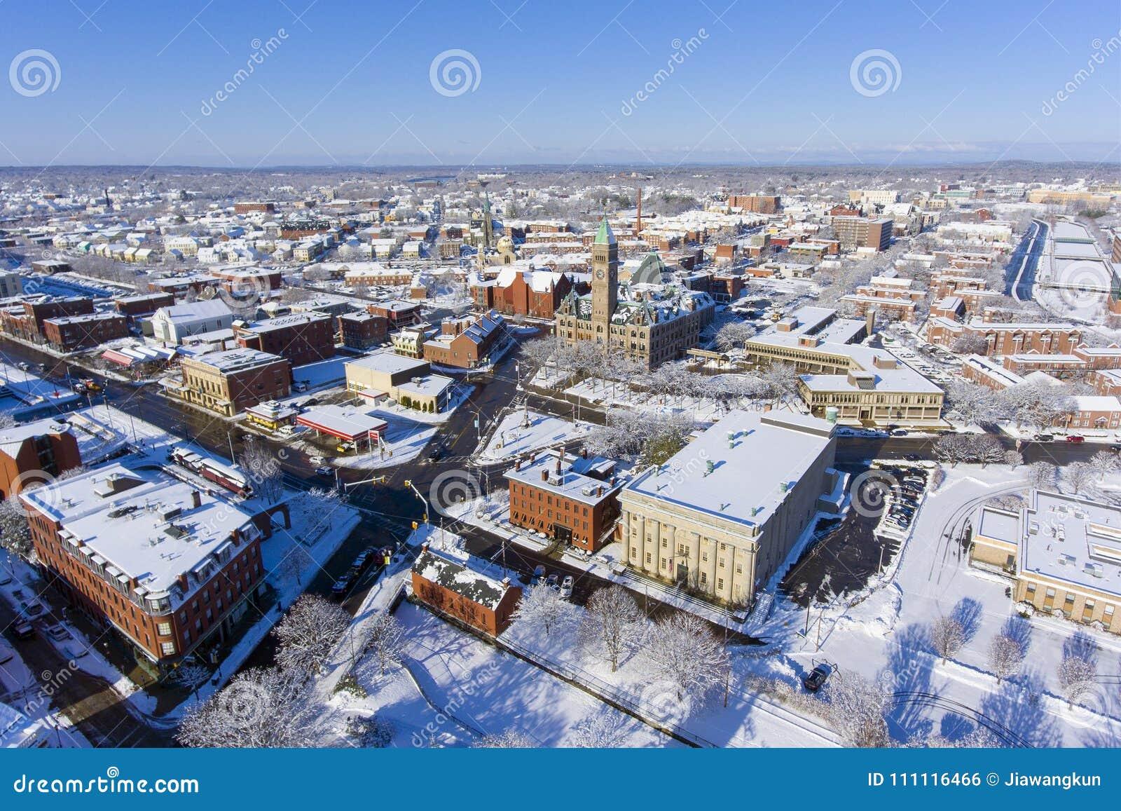 Lowell City Hall flyg- sikt, Massachusetts, USA