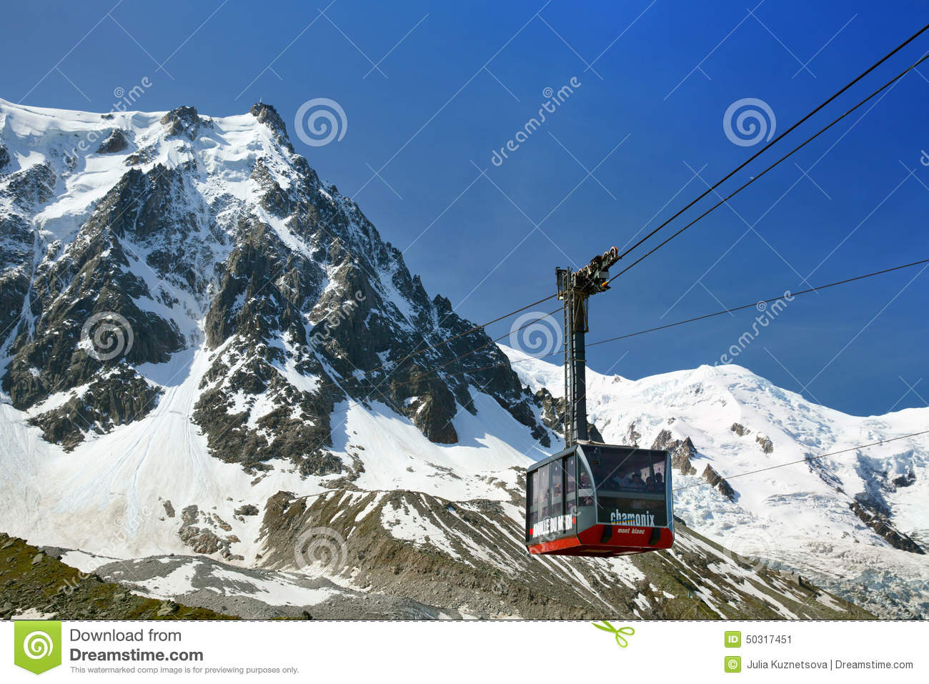 The lower cabin of Aiguille du Midi cable car, Chamonix