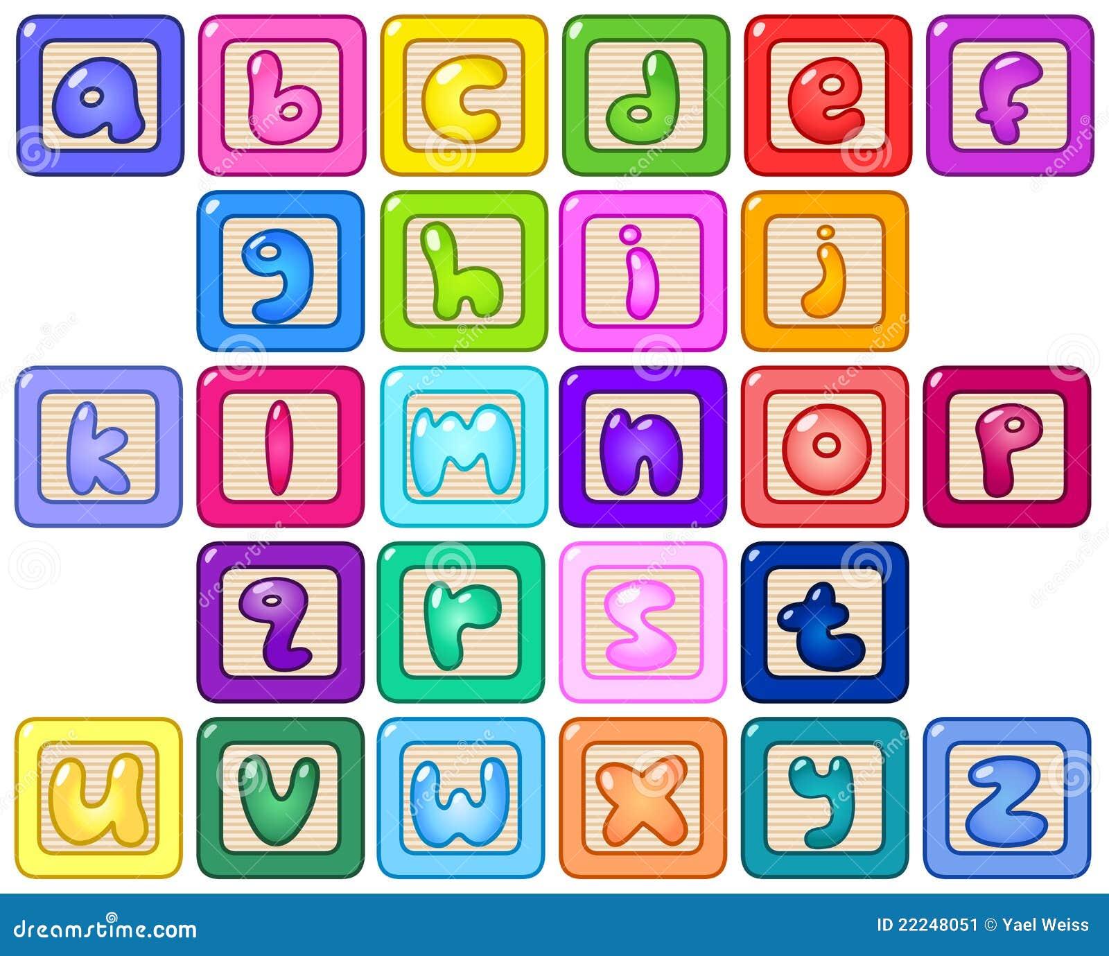 Lower Case Alphabet Blocks Stock Vector Illustration Of Children