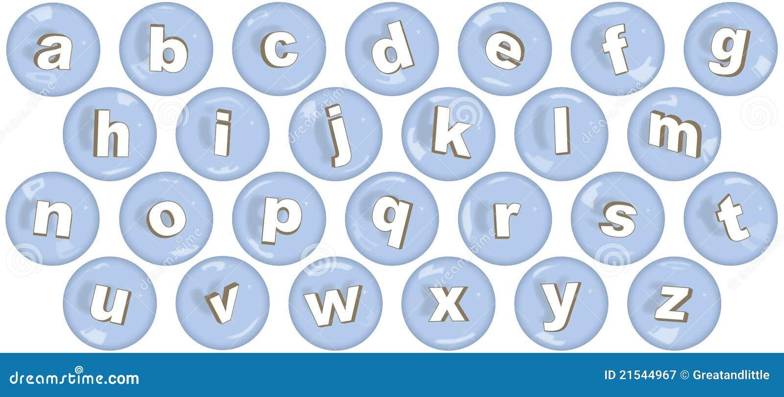 lower case letters in bubbles