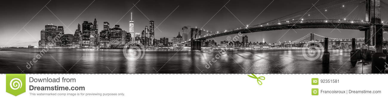 Lower Manhattan Financial District skyscrapers at twilight Panoramic Black & White. New York City