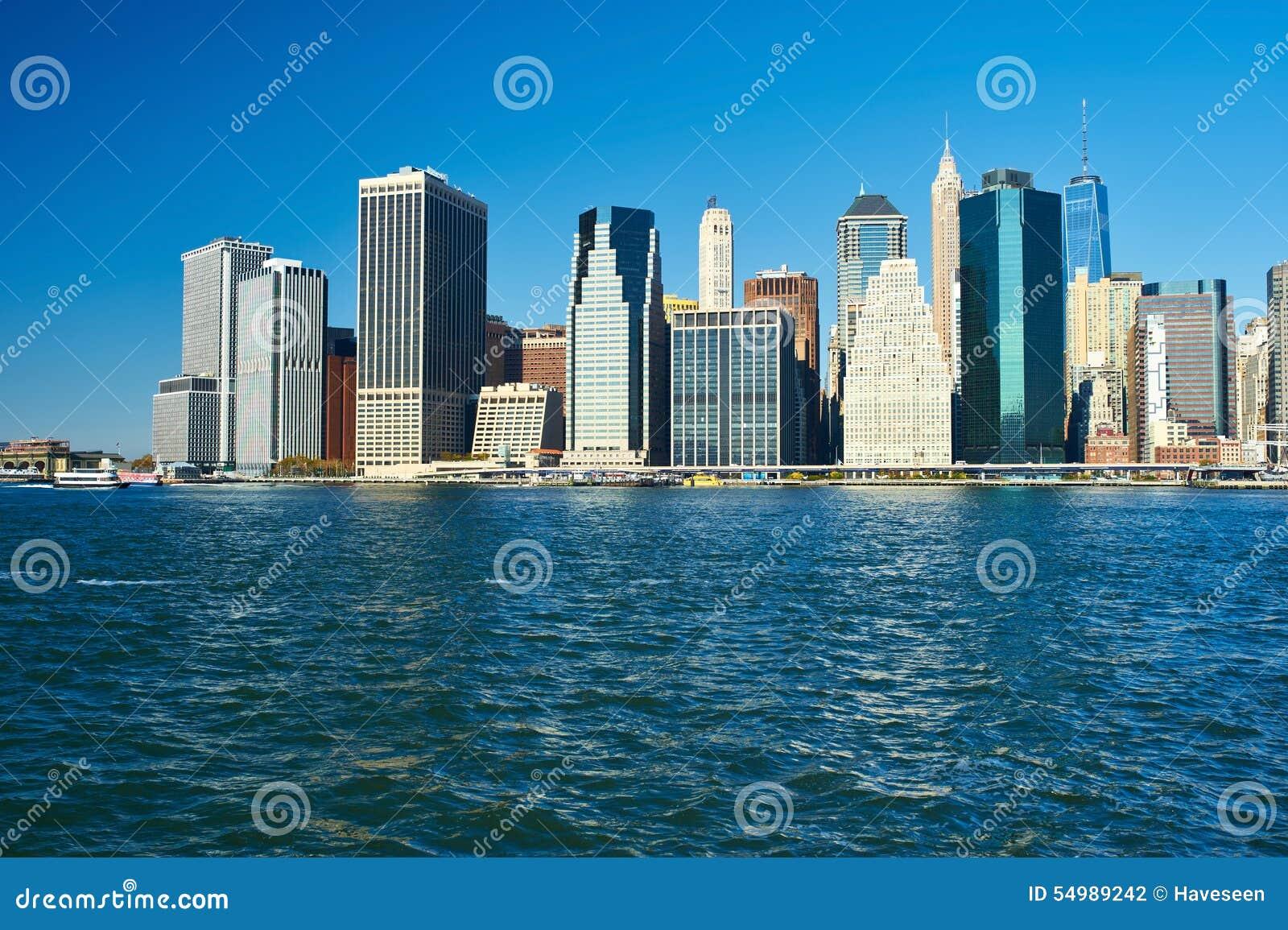 Lower Manhattanhorisontsikt från Brooklyn
