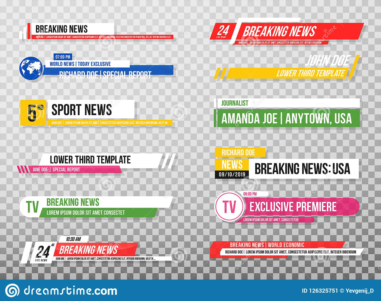 Lower Third Template Set Of Tv Banners And Bars For News And Sport