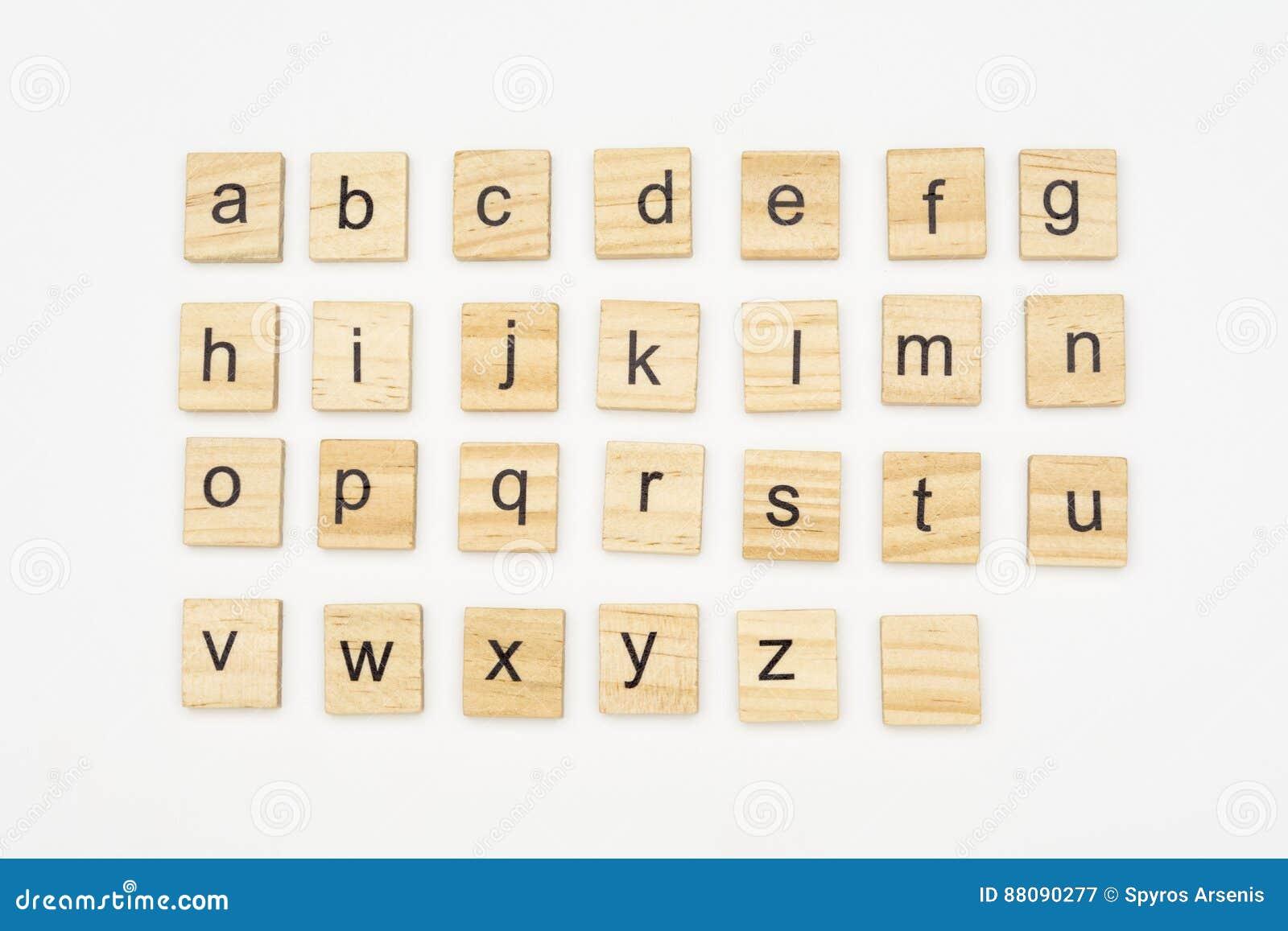 Lowercase alphabet letters on scrabble wooden blocks