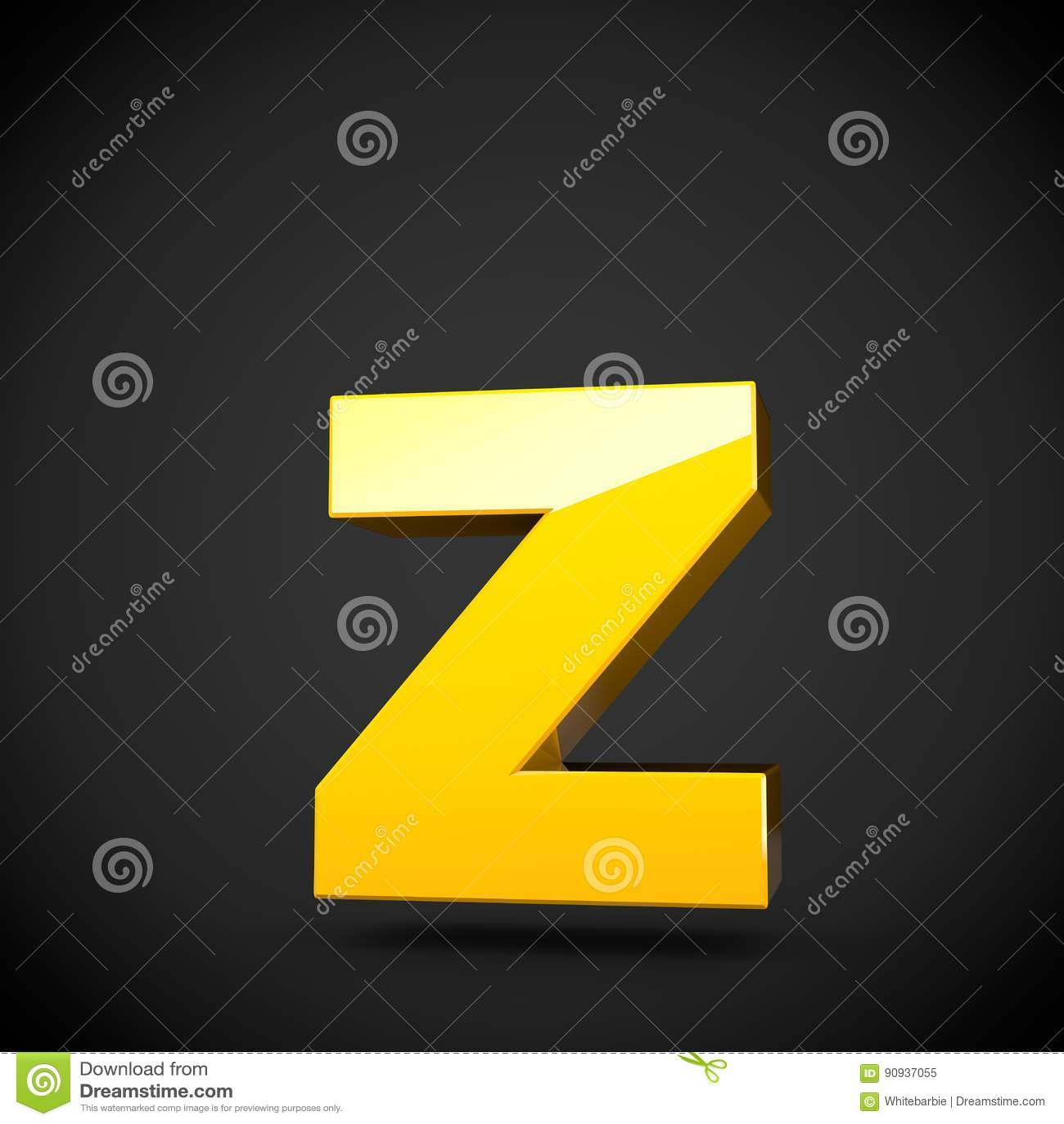 Lowercase amarelo lustroso da letra Z da pintura com reflexão do softbox