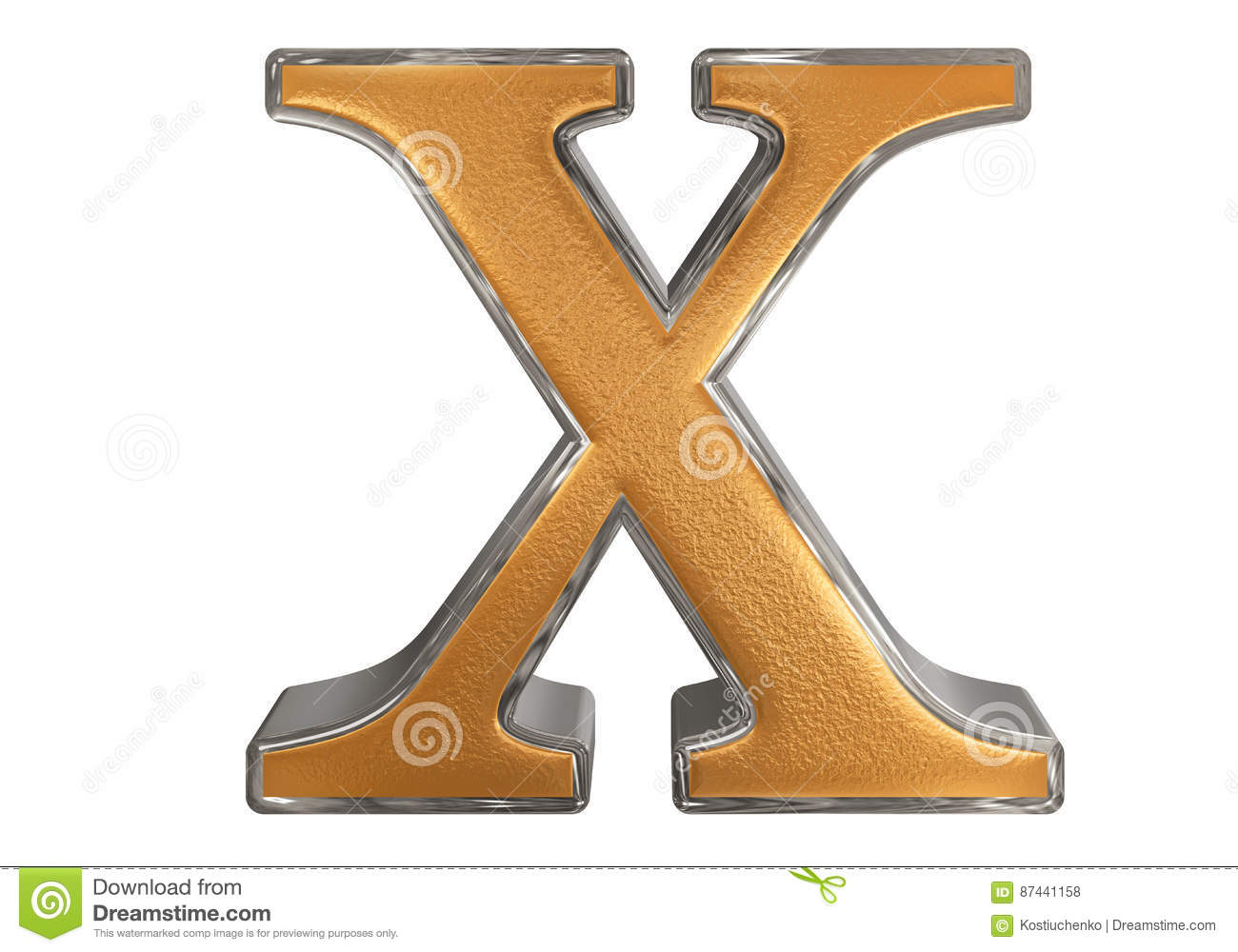 Lowercase Letter X Isolated On White With Clipping Path 3d Il