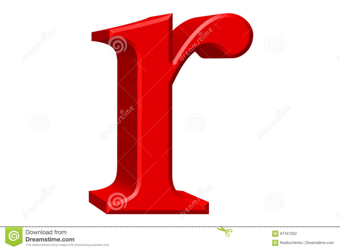 lowercase letter r, isolated on white, with clipping path, 3d il