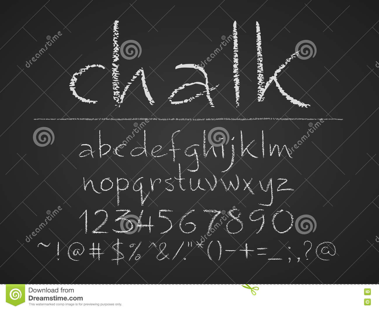 Lowercase Letters Numbers And Symbols Hand Drawn On Chalkboard