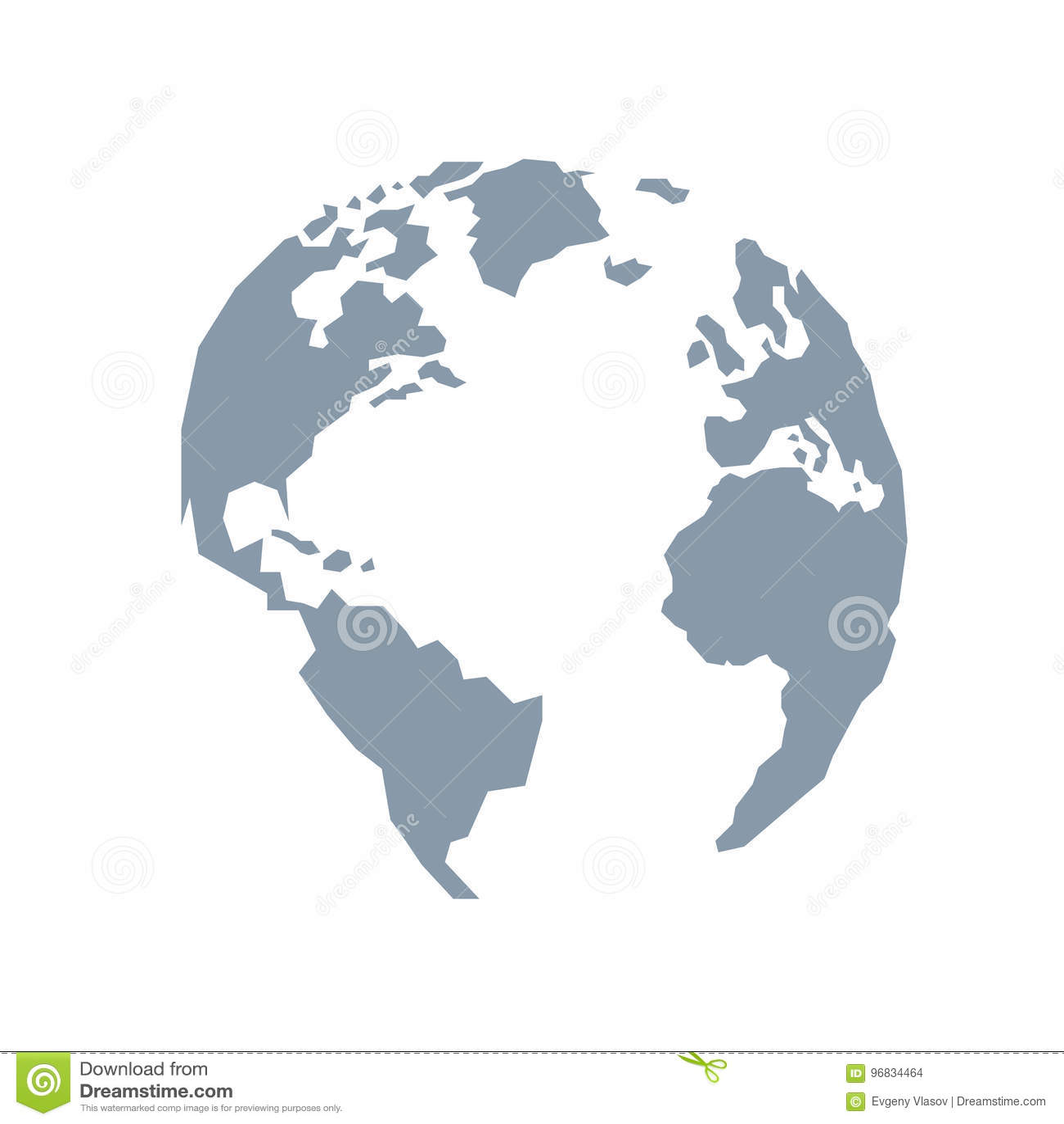 Lowpoly globe. America, Europe, Atlantic Ocean. Blue grey.