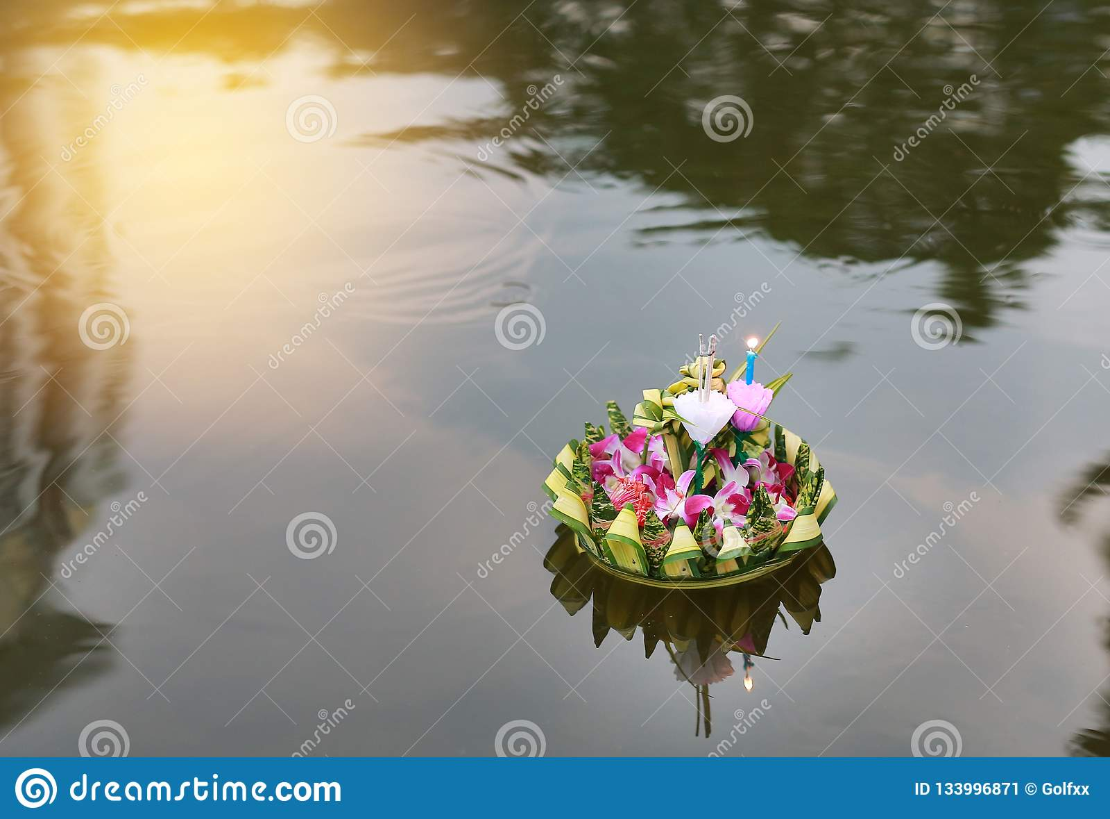 Loy Krathong festival, Krathong floating in pond for forgiveness Goddess Ganges to celebrate festival in Thailand