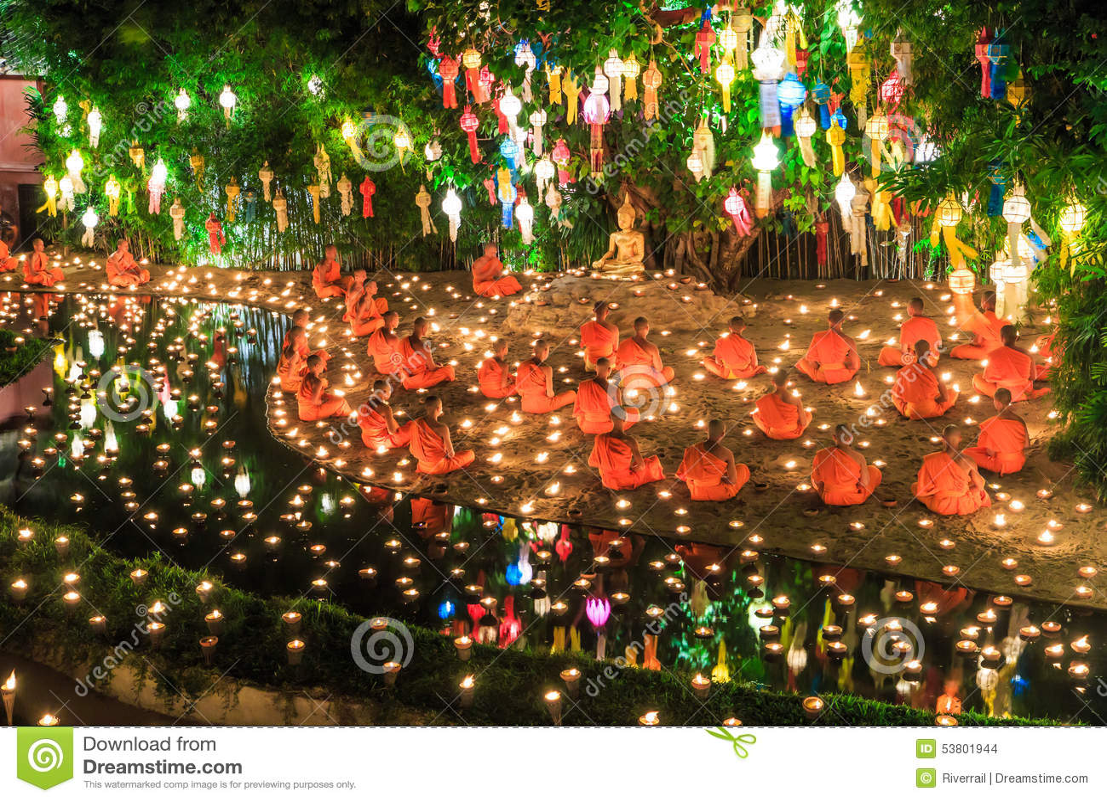 Loy Krathong festiwal przy Wat niecką Tao