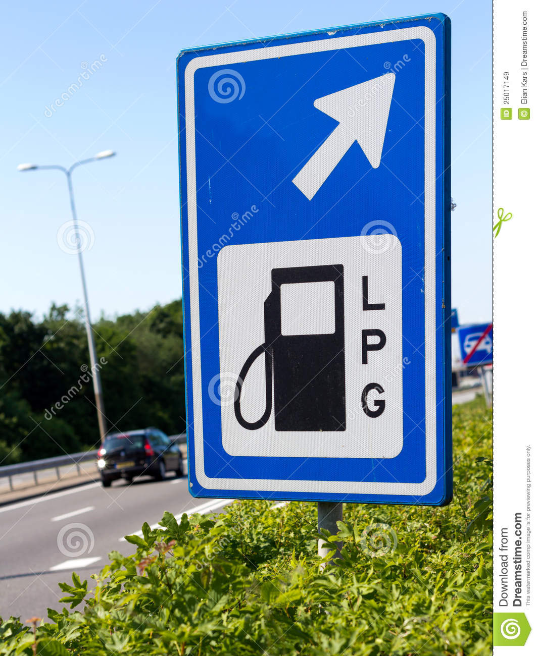 Lpg Filling Station Sign Along A Highway Royalty Free