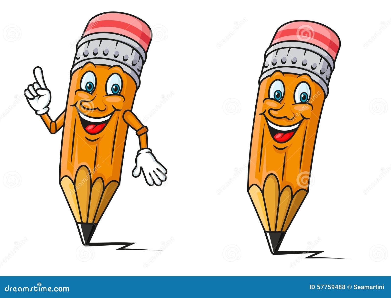 Lápices Amarillos Con Los Personajes De Dibujos Animados