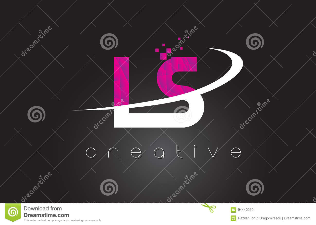 LS L S Creative Letters Design With White Pink Colors