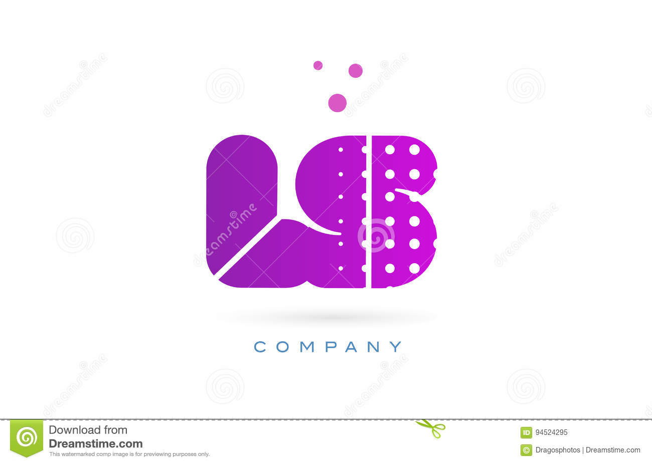 ls l s pink dots letter logo alphabet icon stock vector