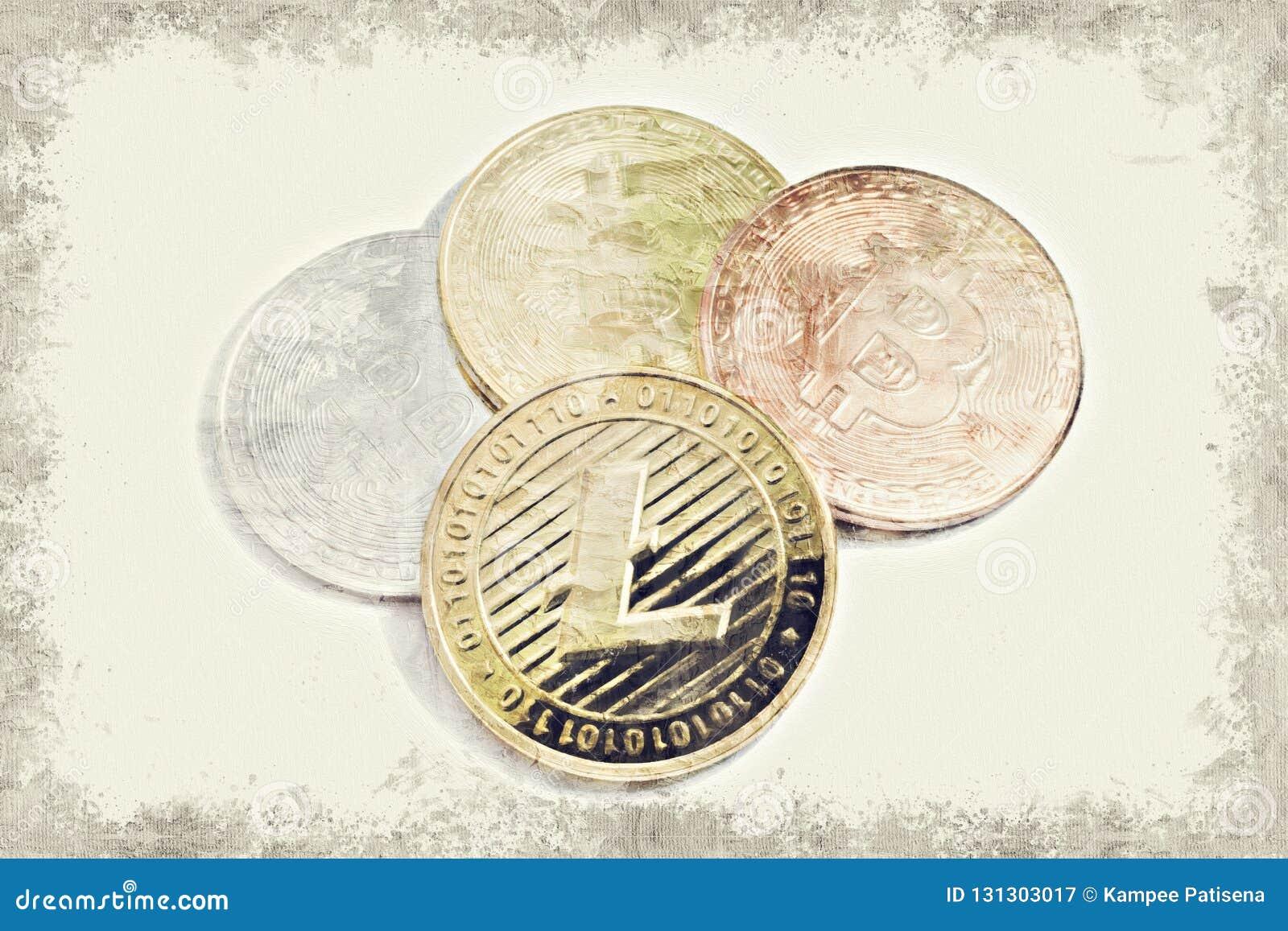 LTC Litecoin guld- mynt och Bitcoin på vit bakgrund med kopian