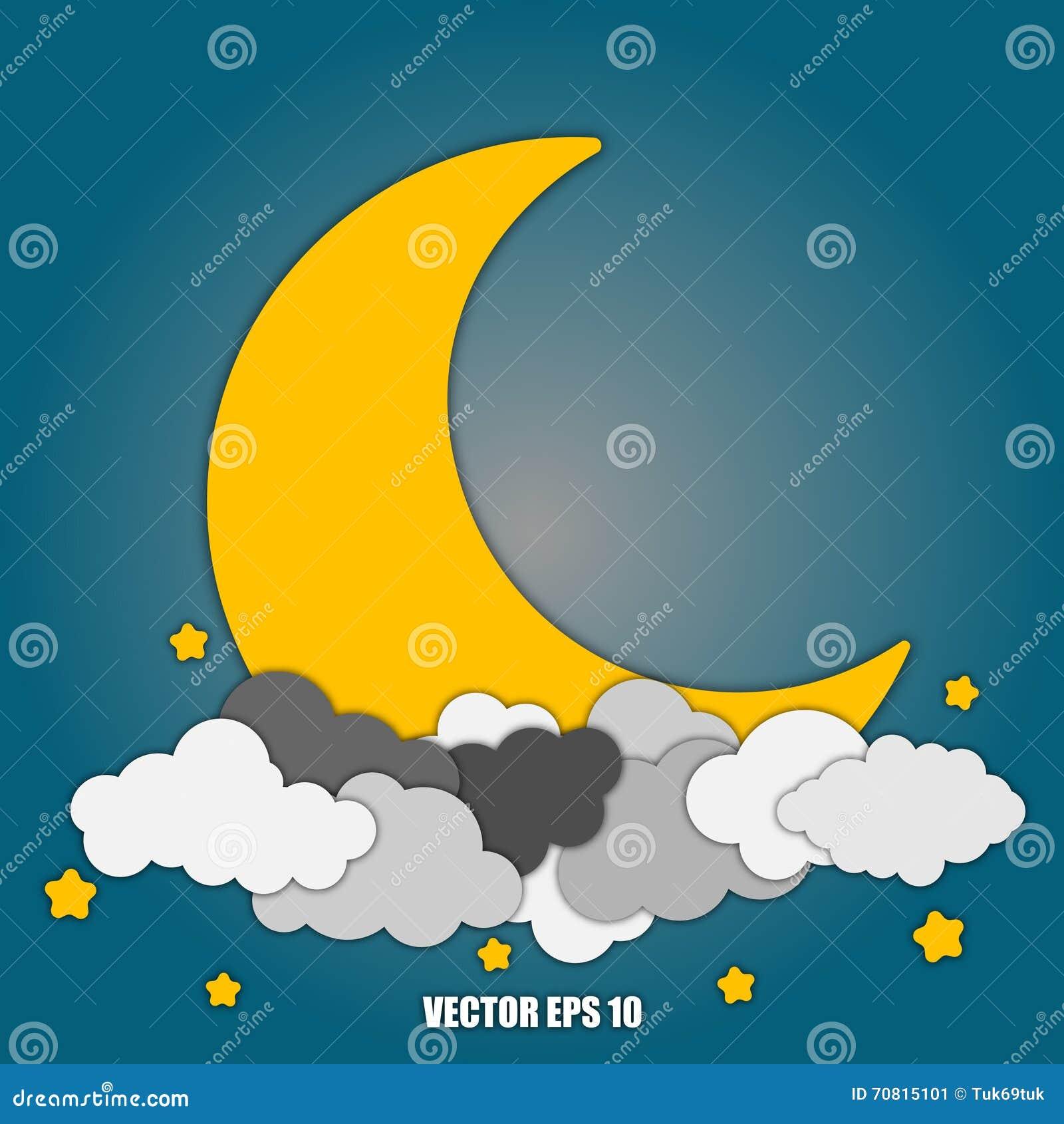 A lua abstrata do fundo e protagoniza nas nuvens Eps10