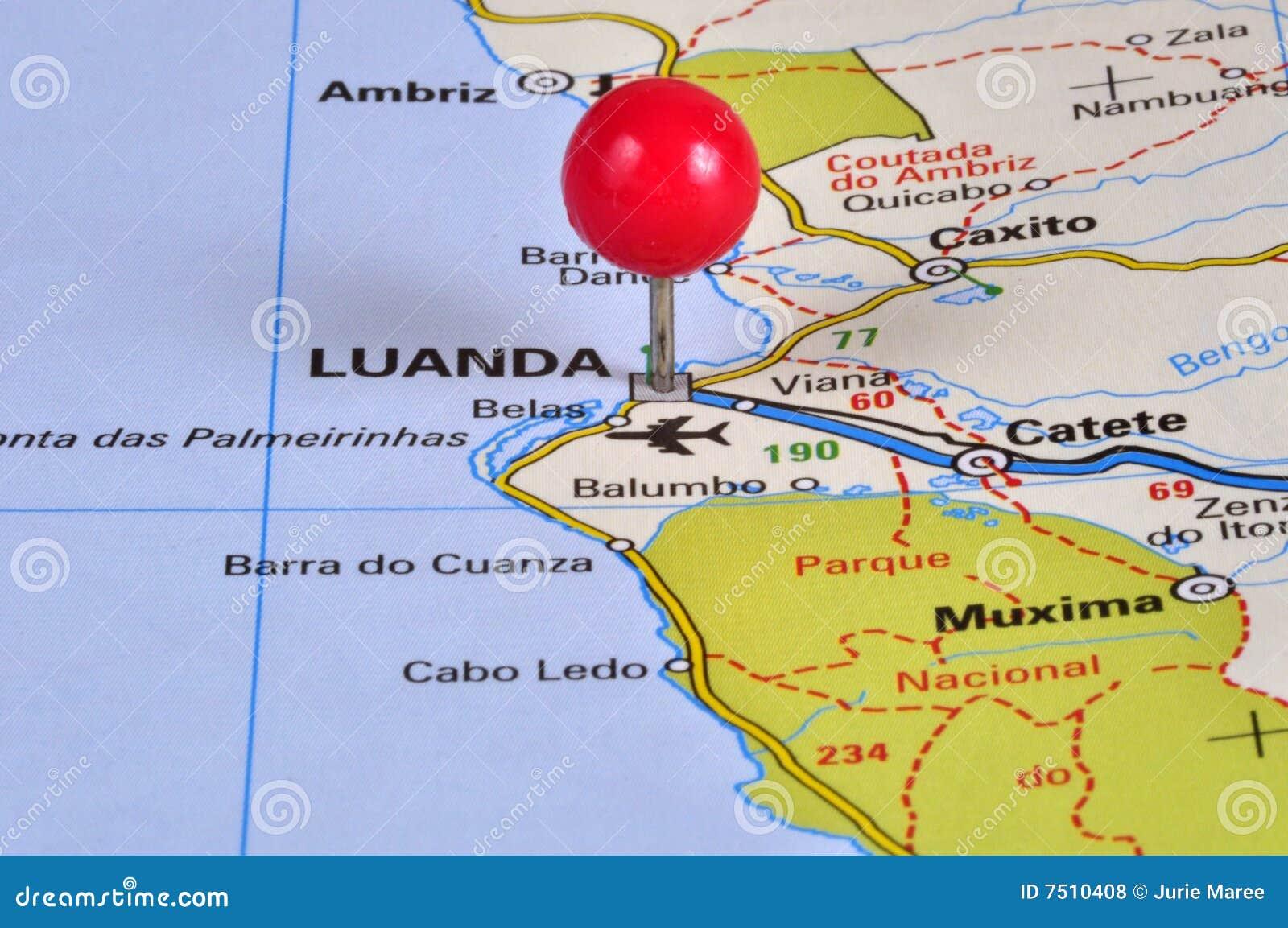 luanda angola africa map