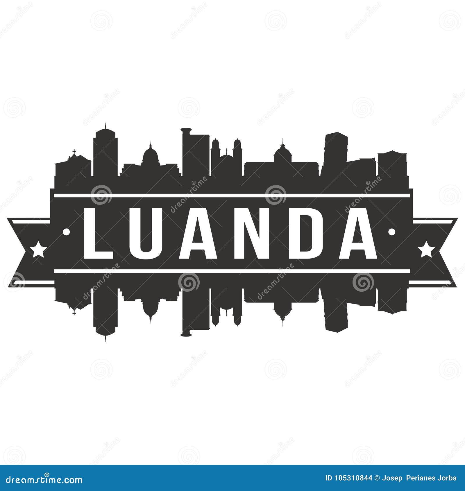 luanda angola africa icon vector art design skyline flat city