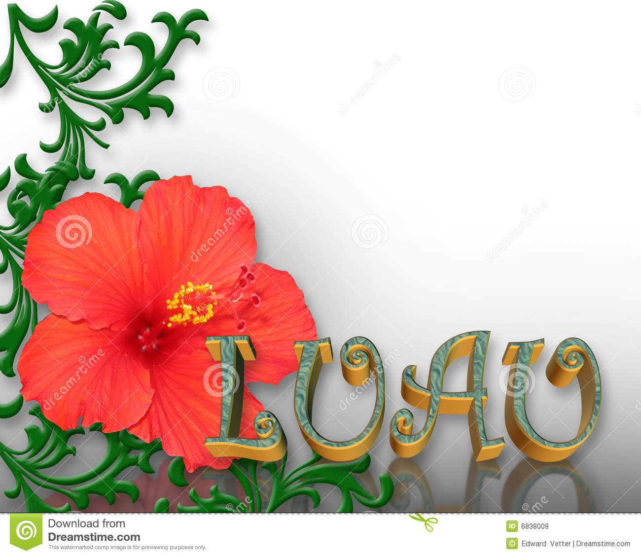 Luau Invitation Hibiscus Background Stock Illustration