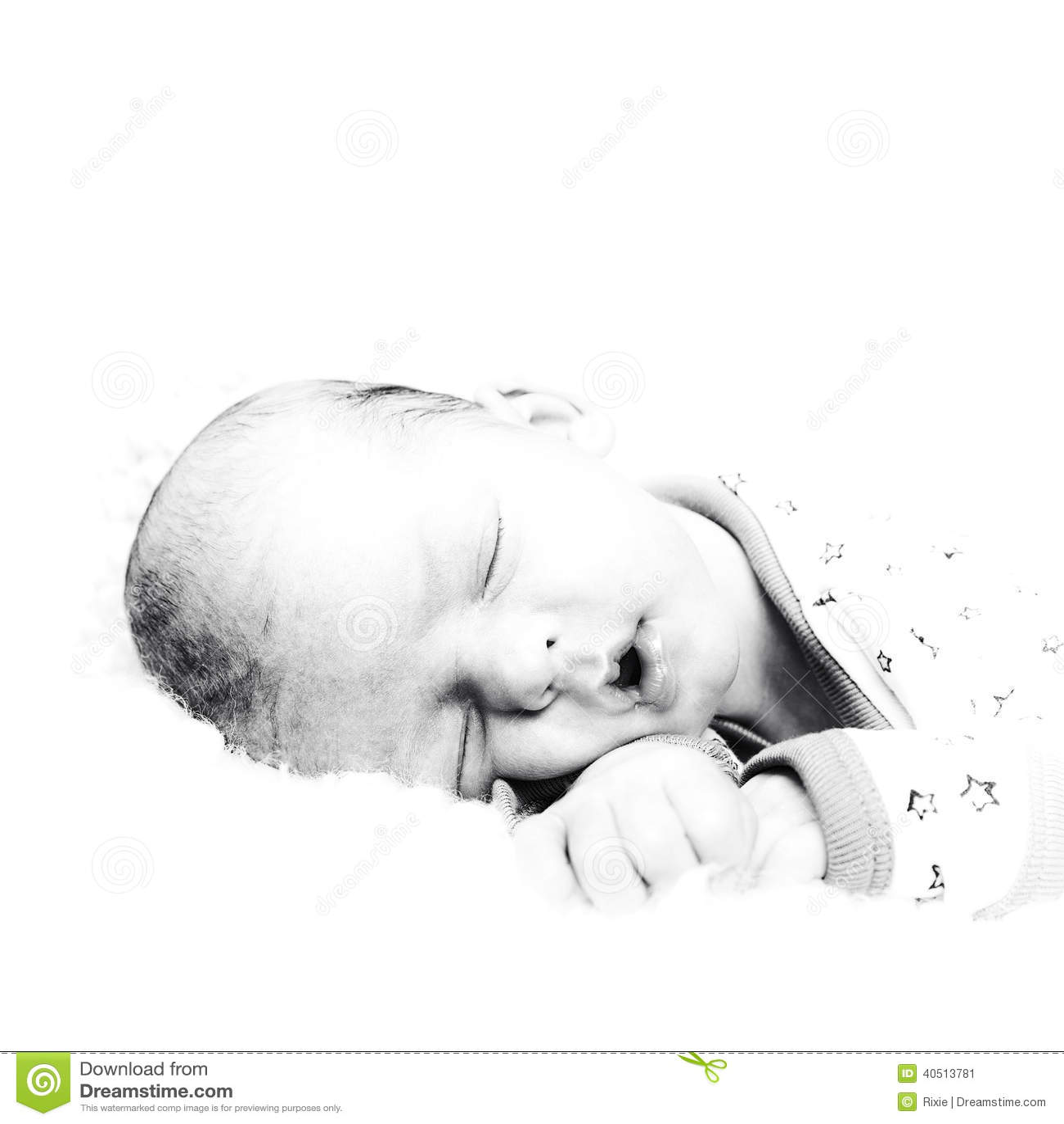 Black And White Baby Sleeping: Lucas High Key Portrait Stock Photo
