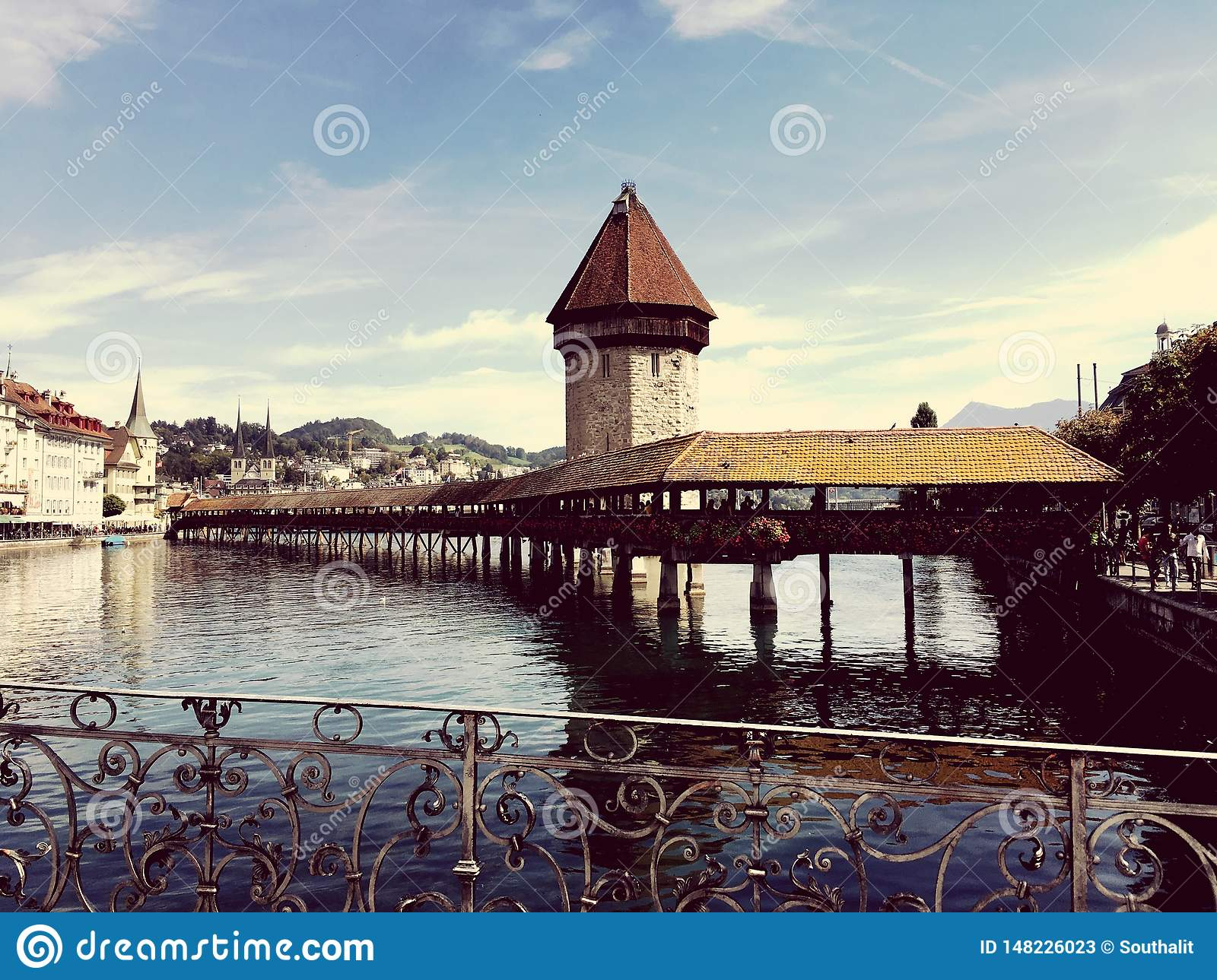Lucerne famous Bridge and tower