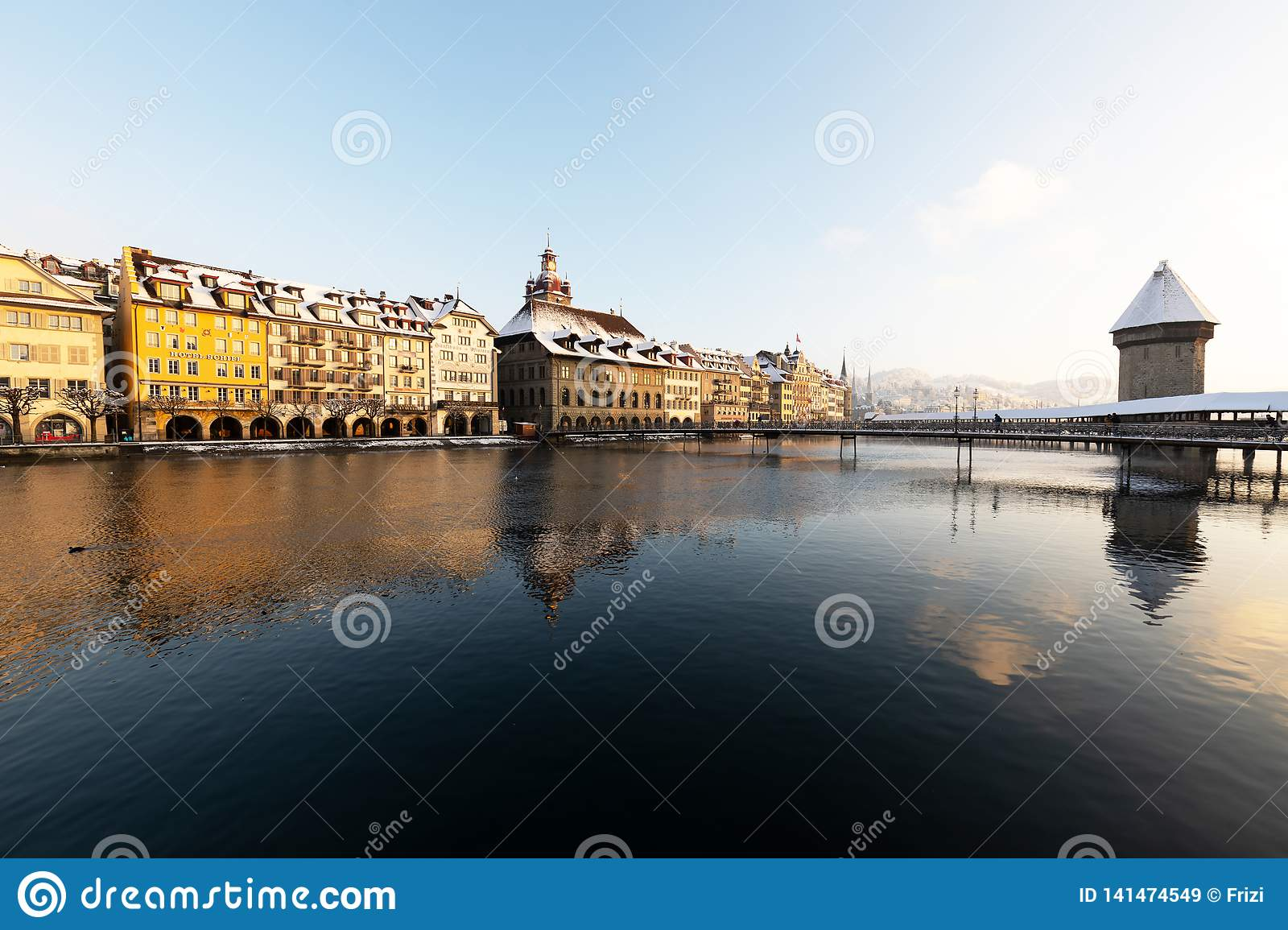 Lucerne Switzerland February 4 2019 Lucerne With Snow Covered