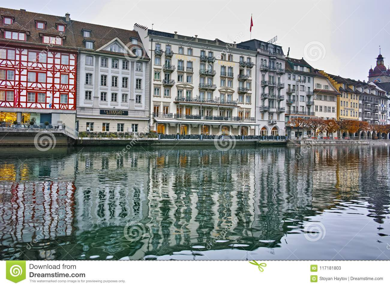 The Reuss River River Passes Through The Historic Center Of