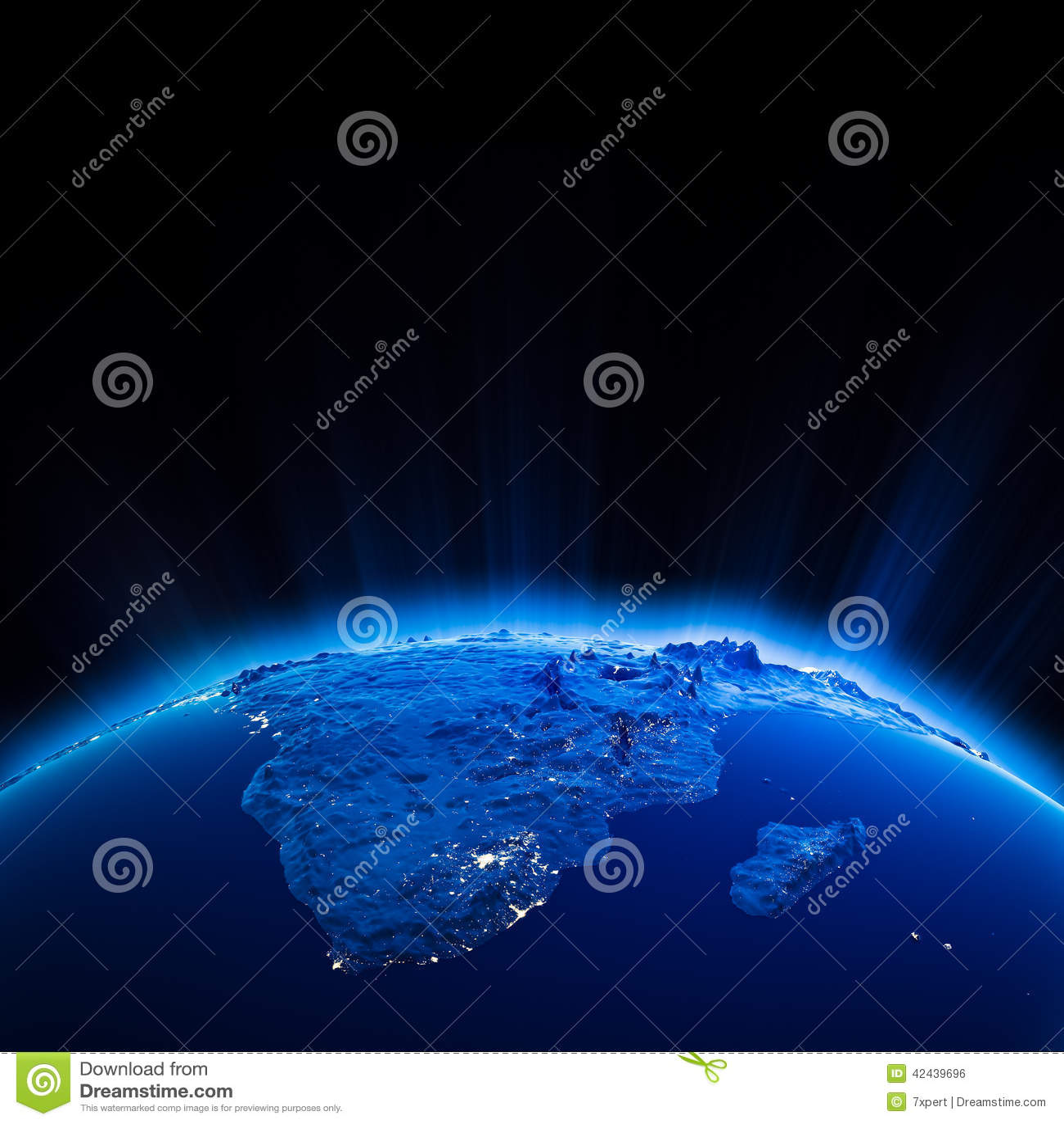 Luces de la ciudad de África en la noche