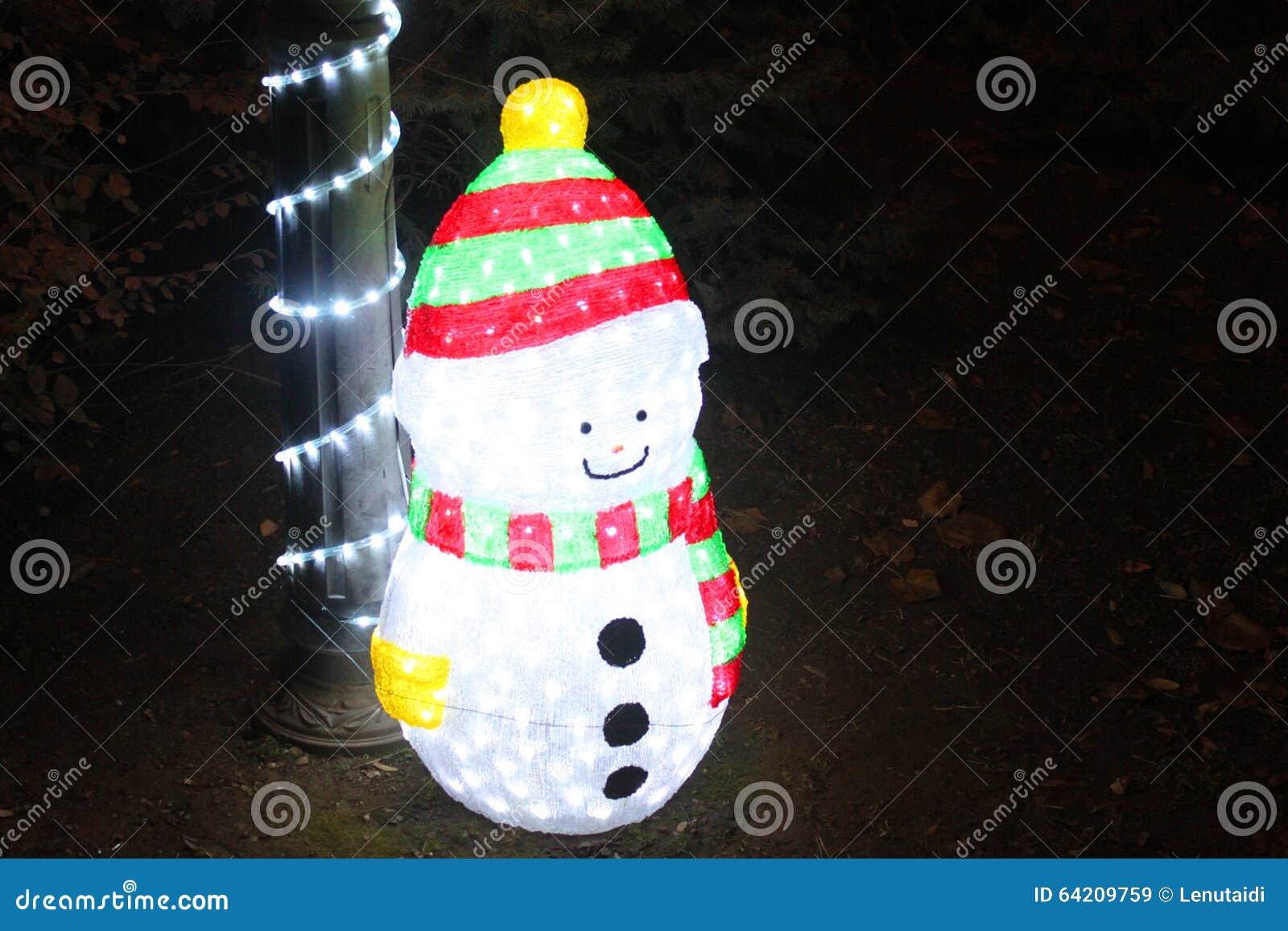 Luces de la Navidad del muñeco de nieve