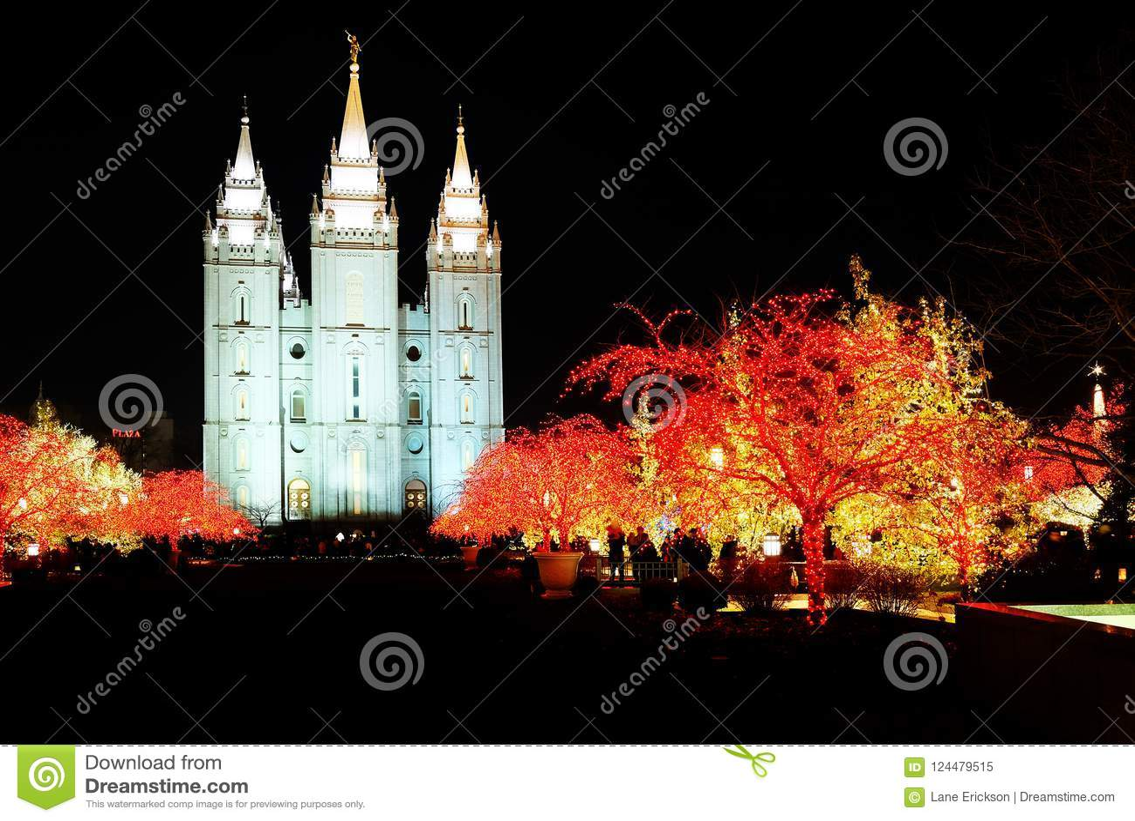 Luces de la Navidad del templo mormón de Salt Lake City
