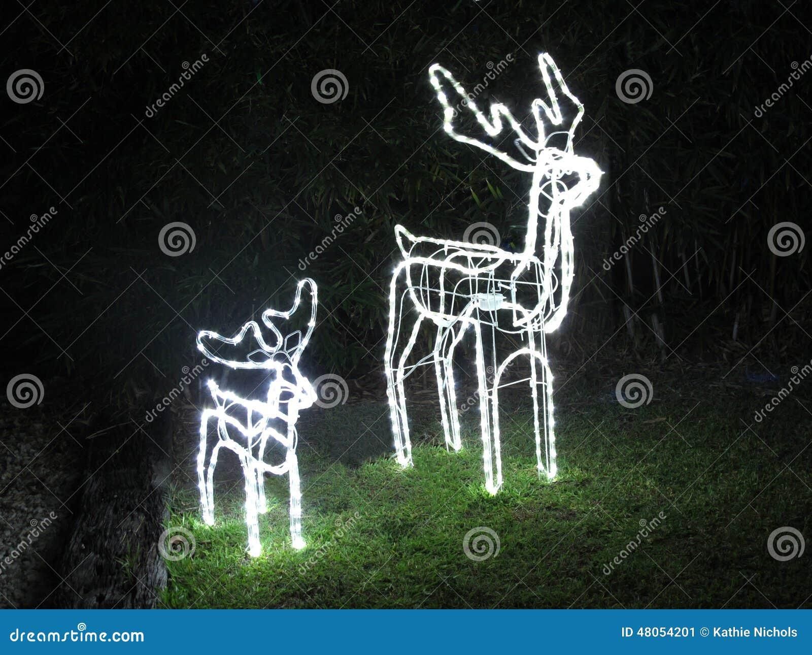 Luces del reno de la navidad imagen de archivo imagen - Renos de navidad con luces ...