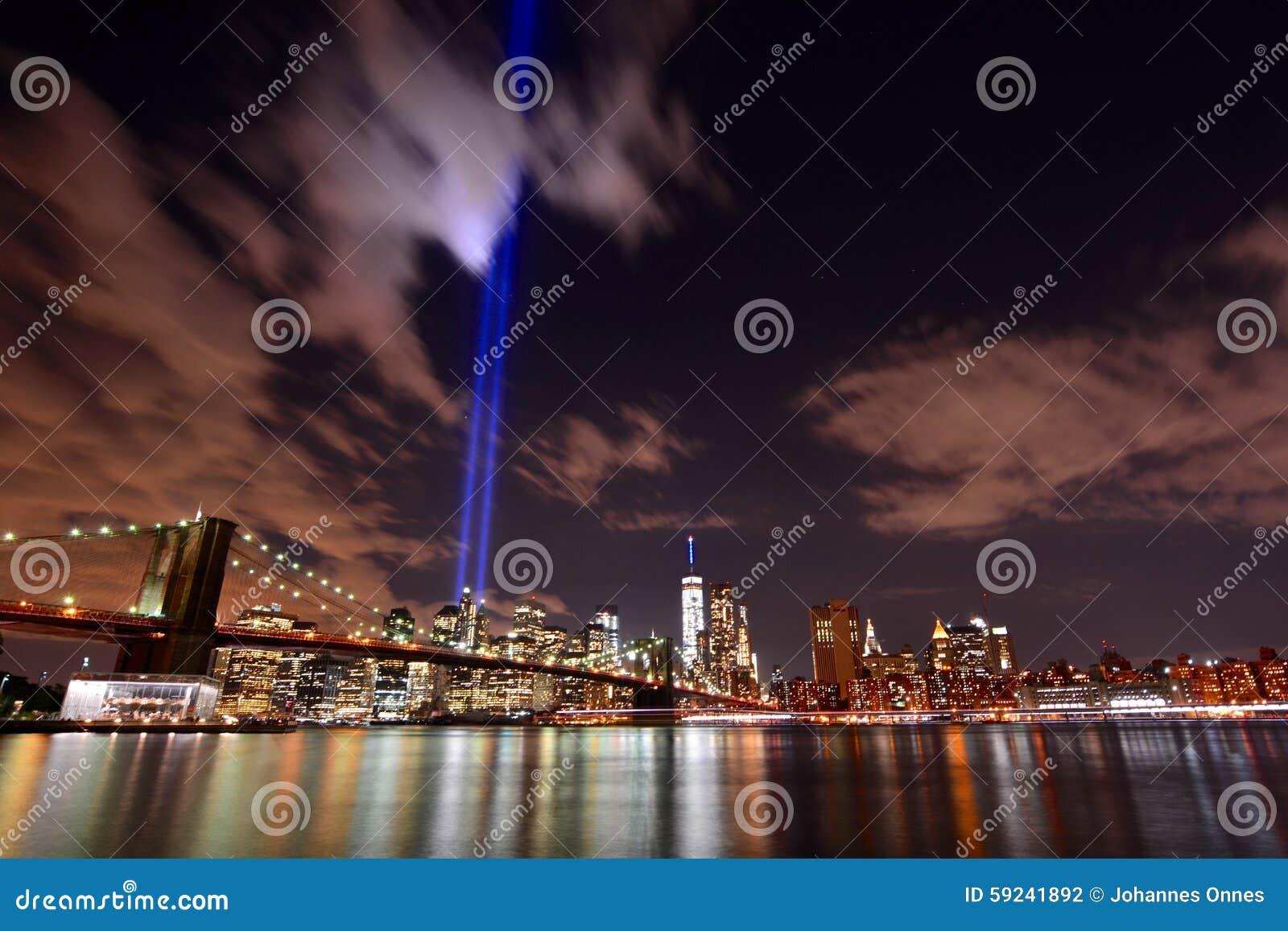 Luces del tributo del horizonte de NYC
