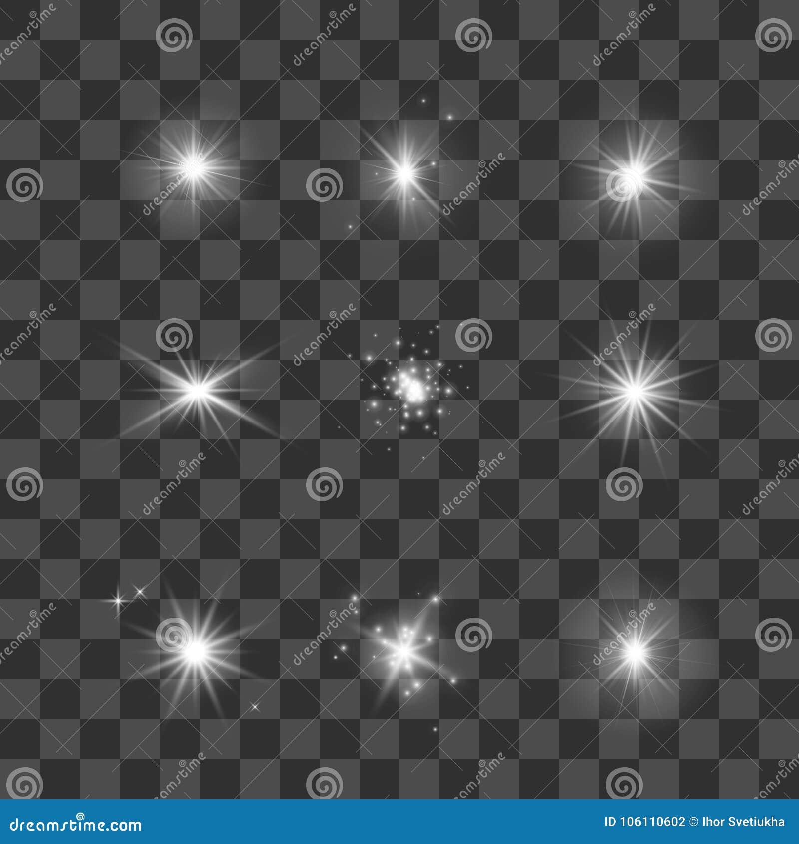 Luces, estrellas y chispas que brillan intensamente fijadas Protagoniza la colección en fondo transparente oscuro Ilustración del