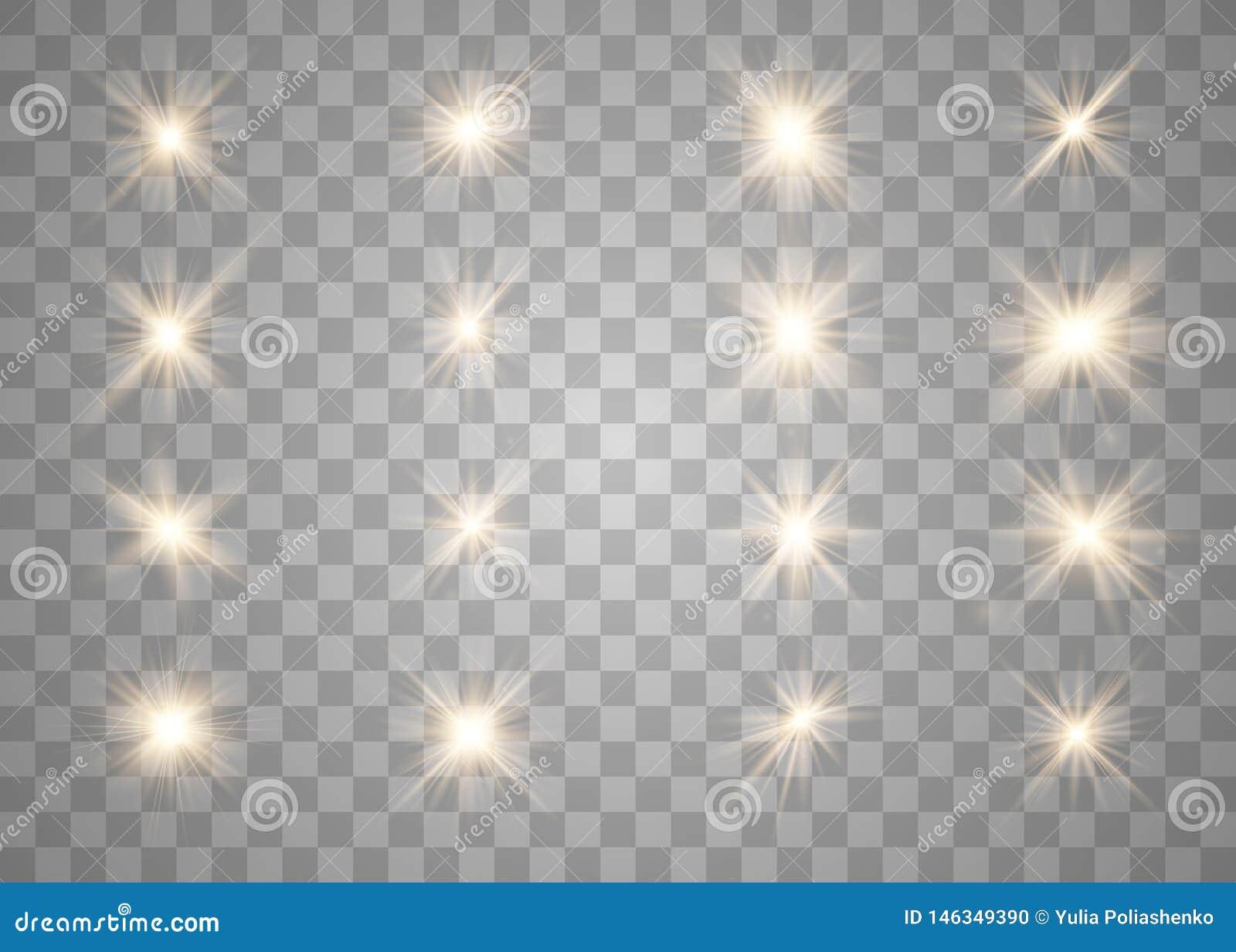 Luces y estrellas que brillan intensamente