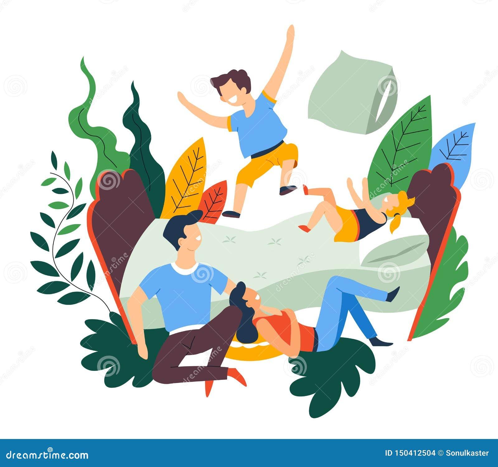 Lucha de almohada del pasatiempo del ocio de la familia y salto en cama
