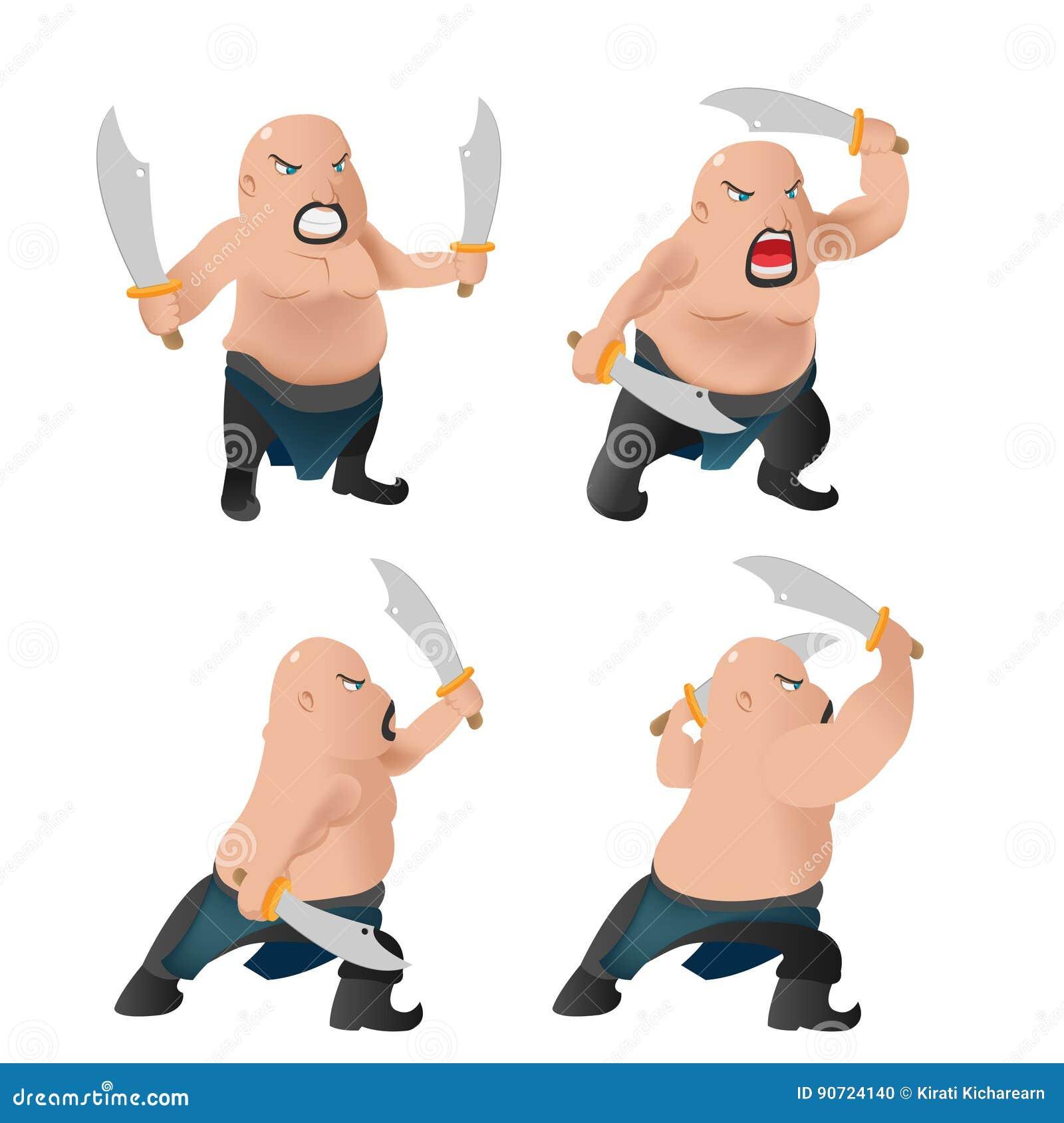 Lucha del carácter del viejo hombre del guerrero